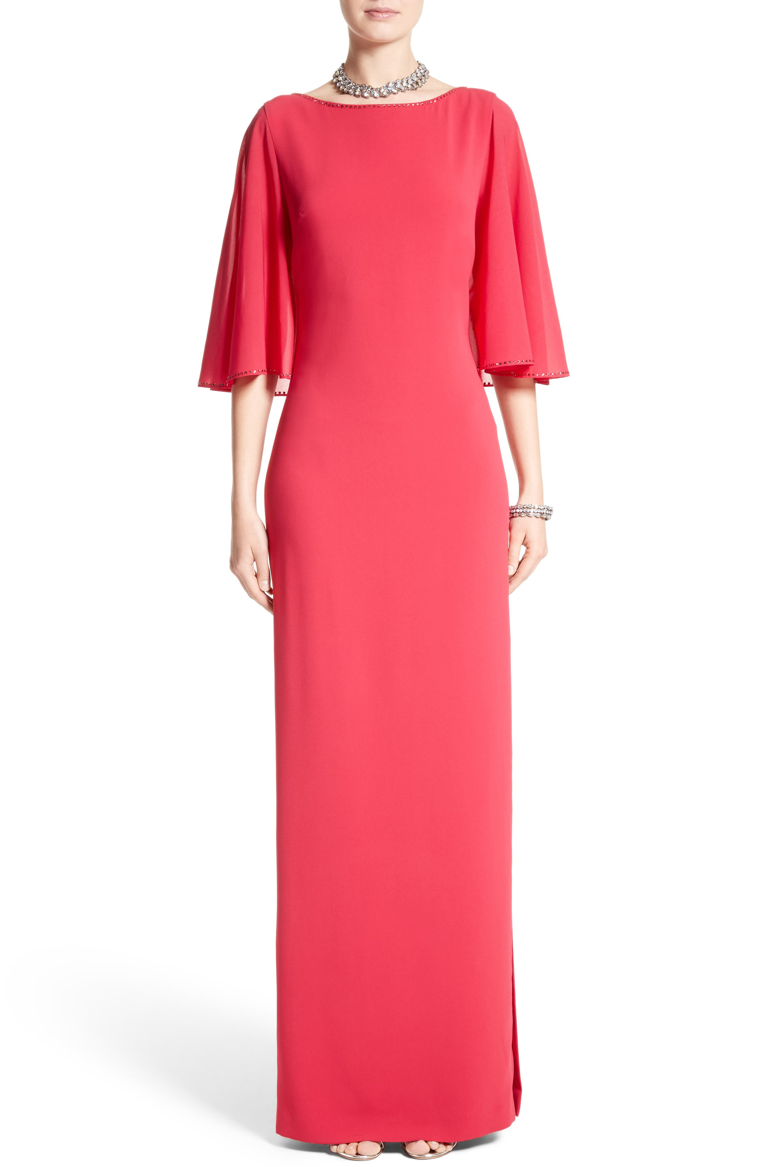 Embellished Stretch Cady Cape Back Gown,                             Main thumbnail 1, color,                             DARK INDIAN ROSE