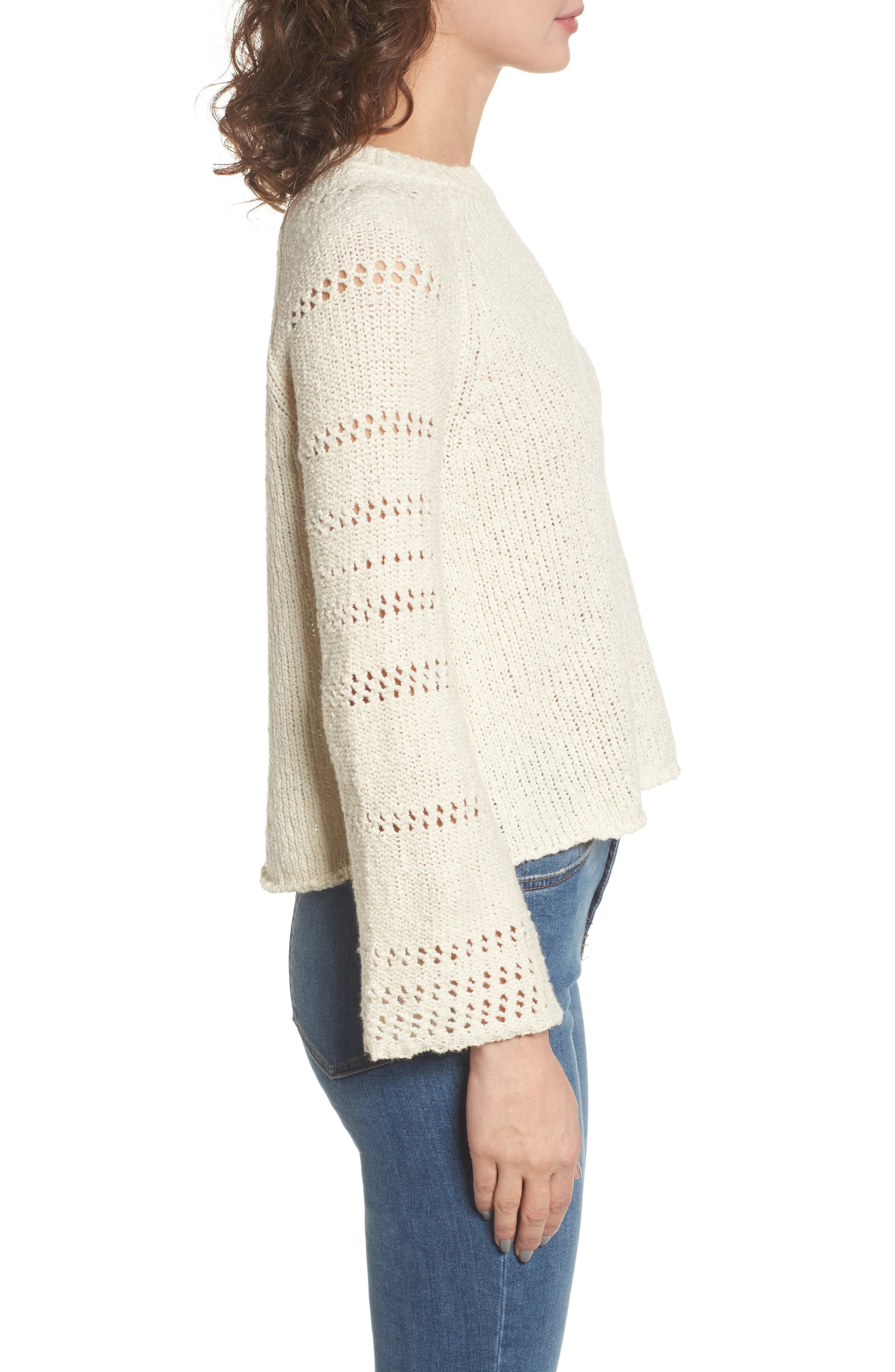 Cozy Love Bell Sleeve Sweater,                             Alternate thumbnail 3, color,                             190