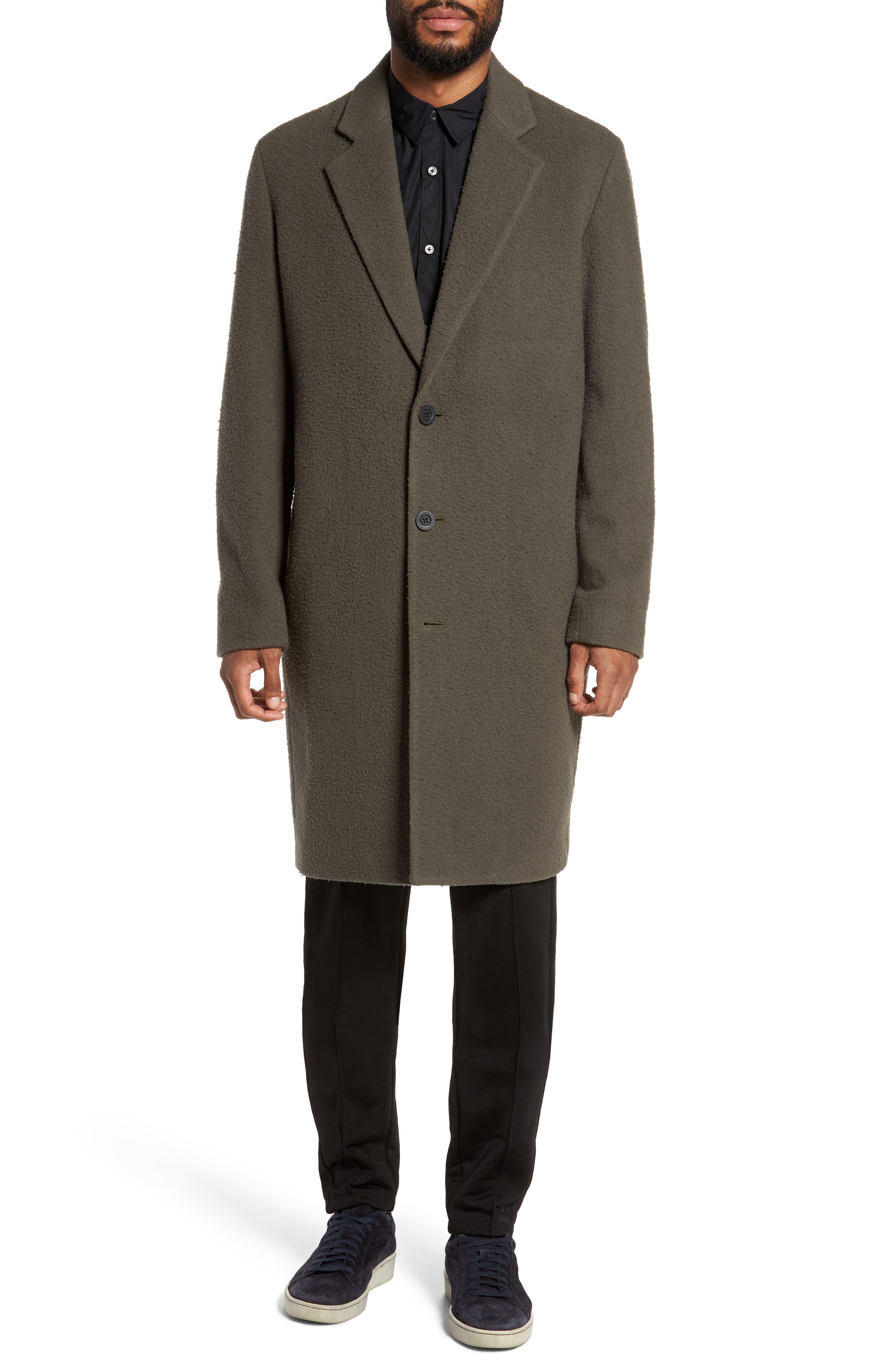 Distressed Wool Blend Car Coat,                             Alternate thumbnail 4, color,                             310