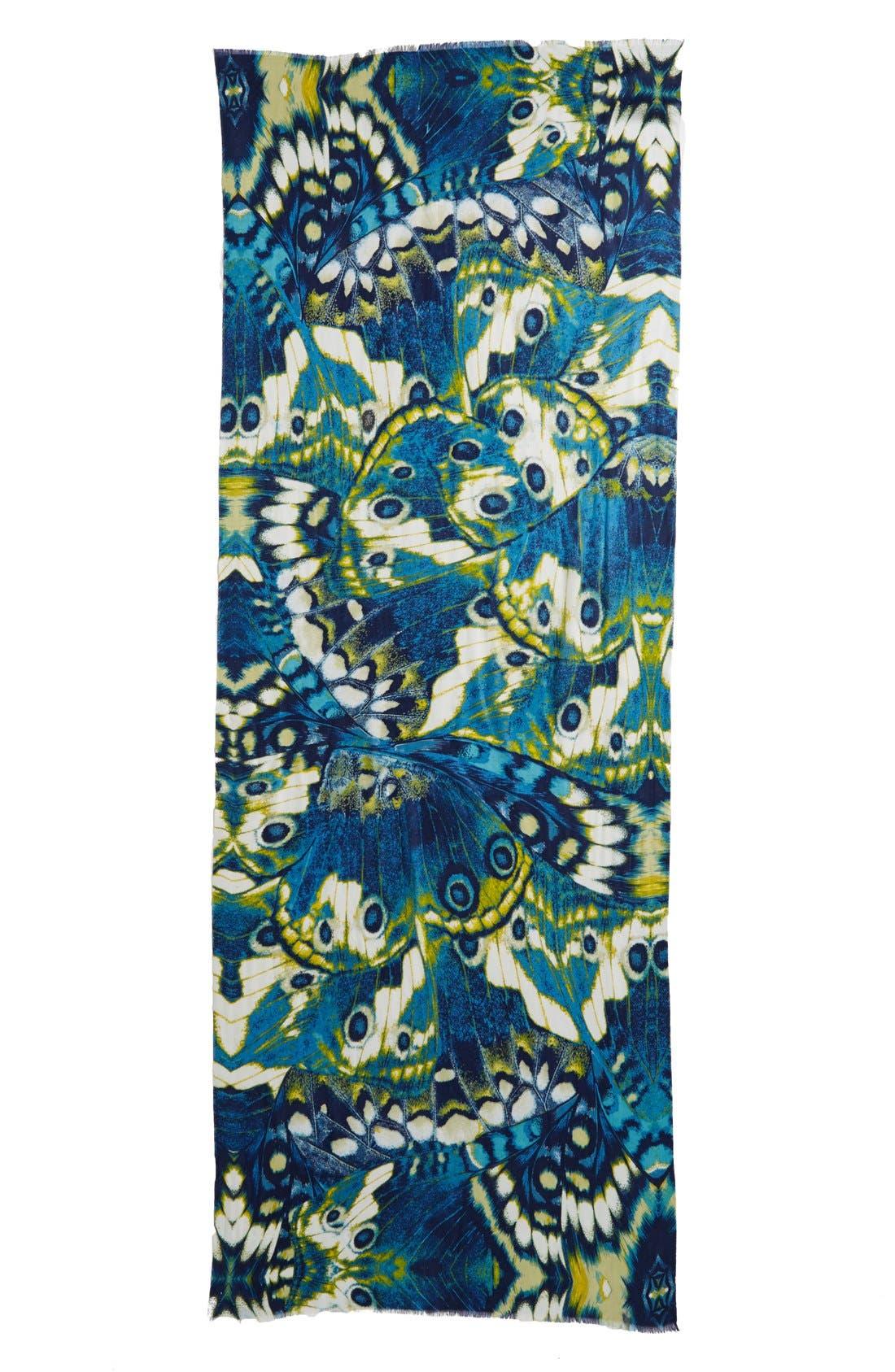 'Papillon Luxe' Challis Scarf,                             Alternate thumbnail 3, color,                             400