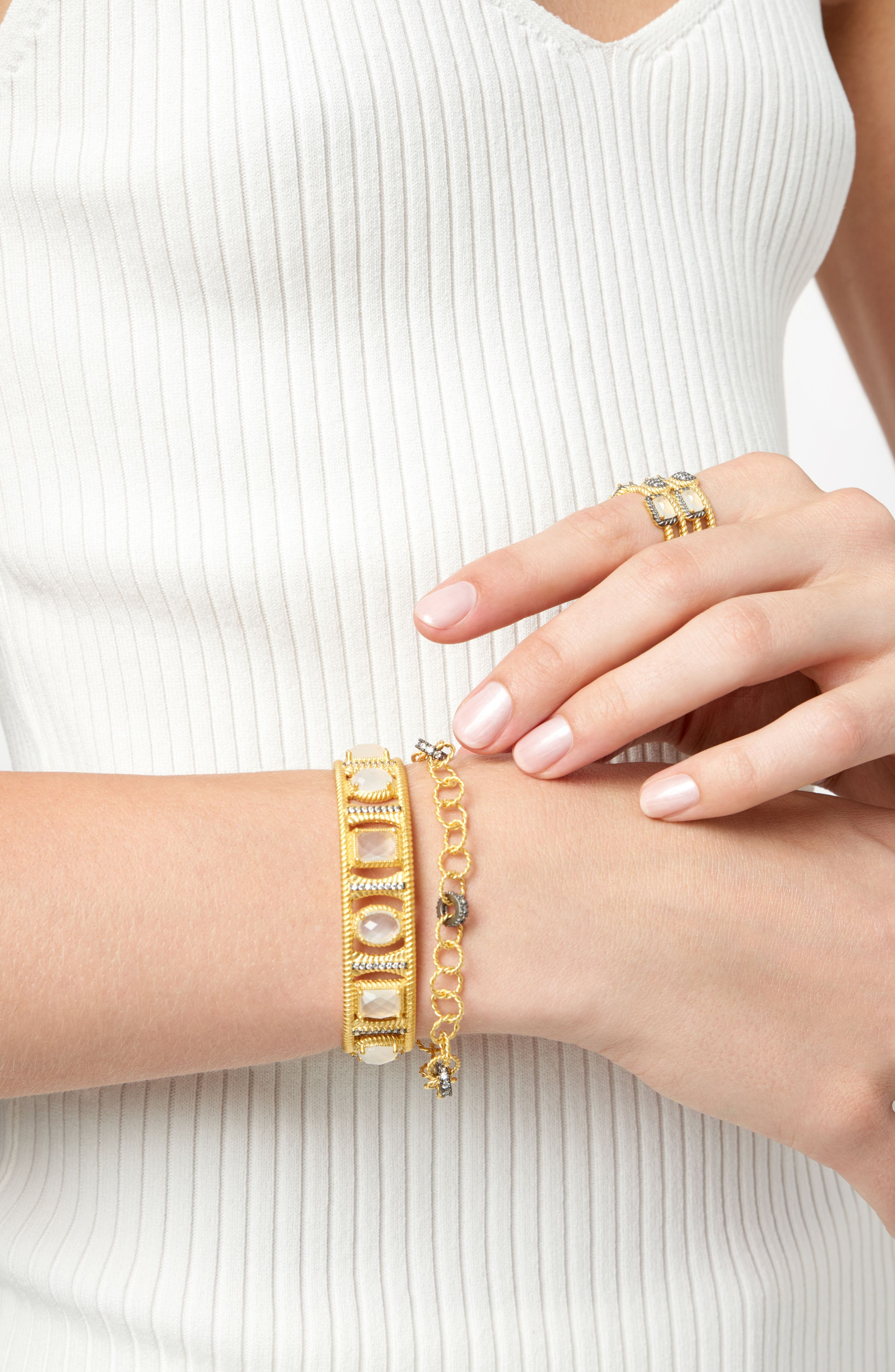 Gilded Cable Pebble Stone Cuff,                             Alternate thumbnail 3, color,                             710