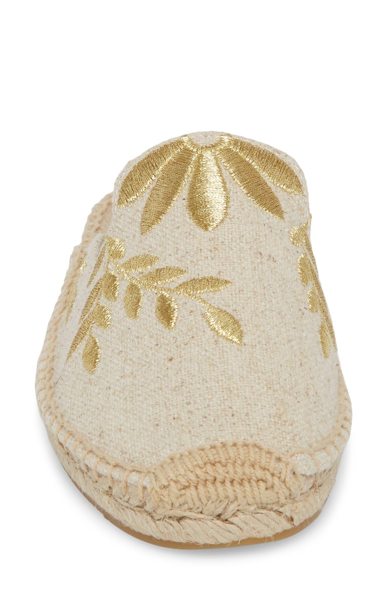 Leaf Embroidered Loafer Mule,                             Alternate thumbnail 4, color,