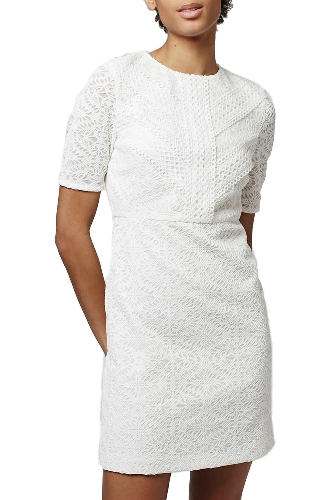TOPSHOP Laser Cut Lace Shift Dress, Main, color, 900