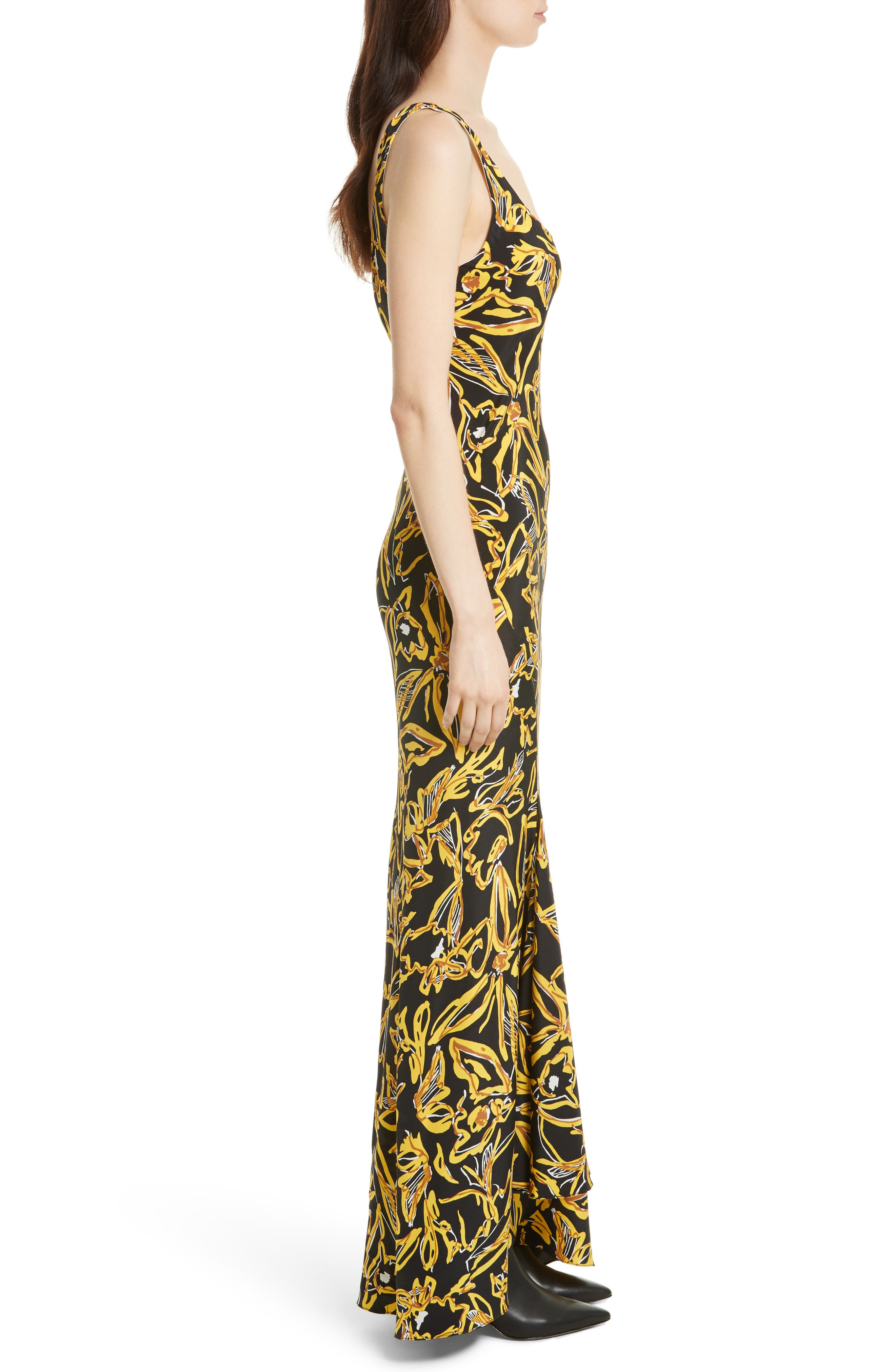 Print Silk Bias Slip Gown,                             Alternate thumbnail 3, color,                             001