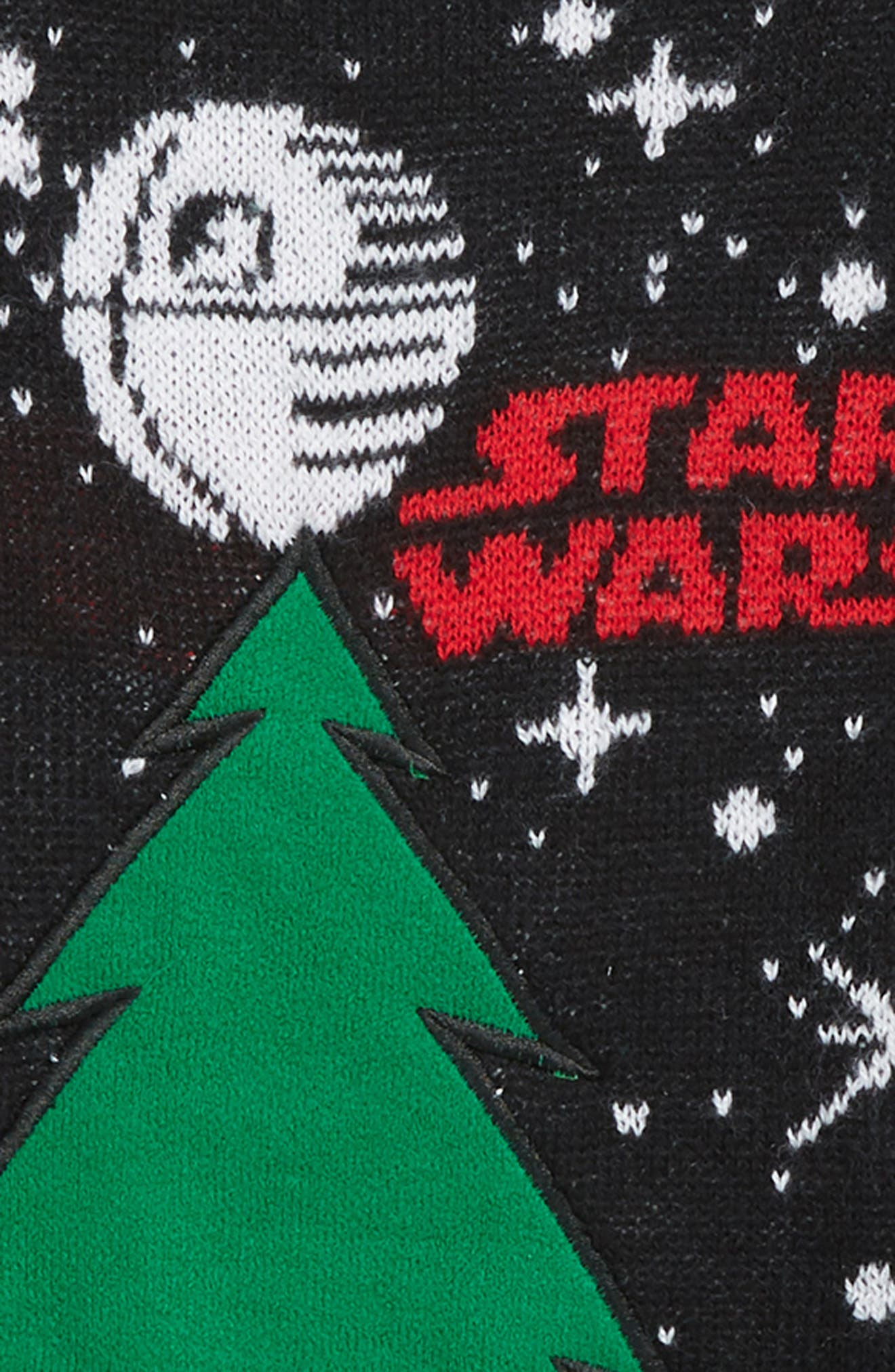 Star Wars<sup>™</sup> Removable Patch Holiday Sweater,                             Alternate thumbnail 2, color,                             BLACK