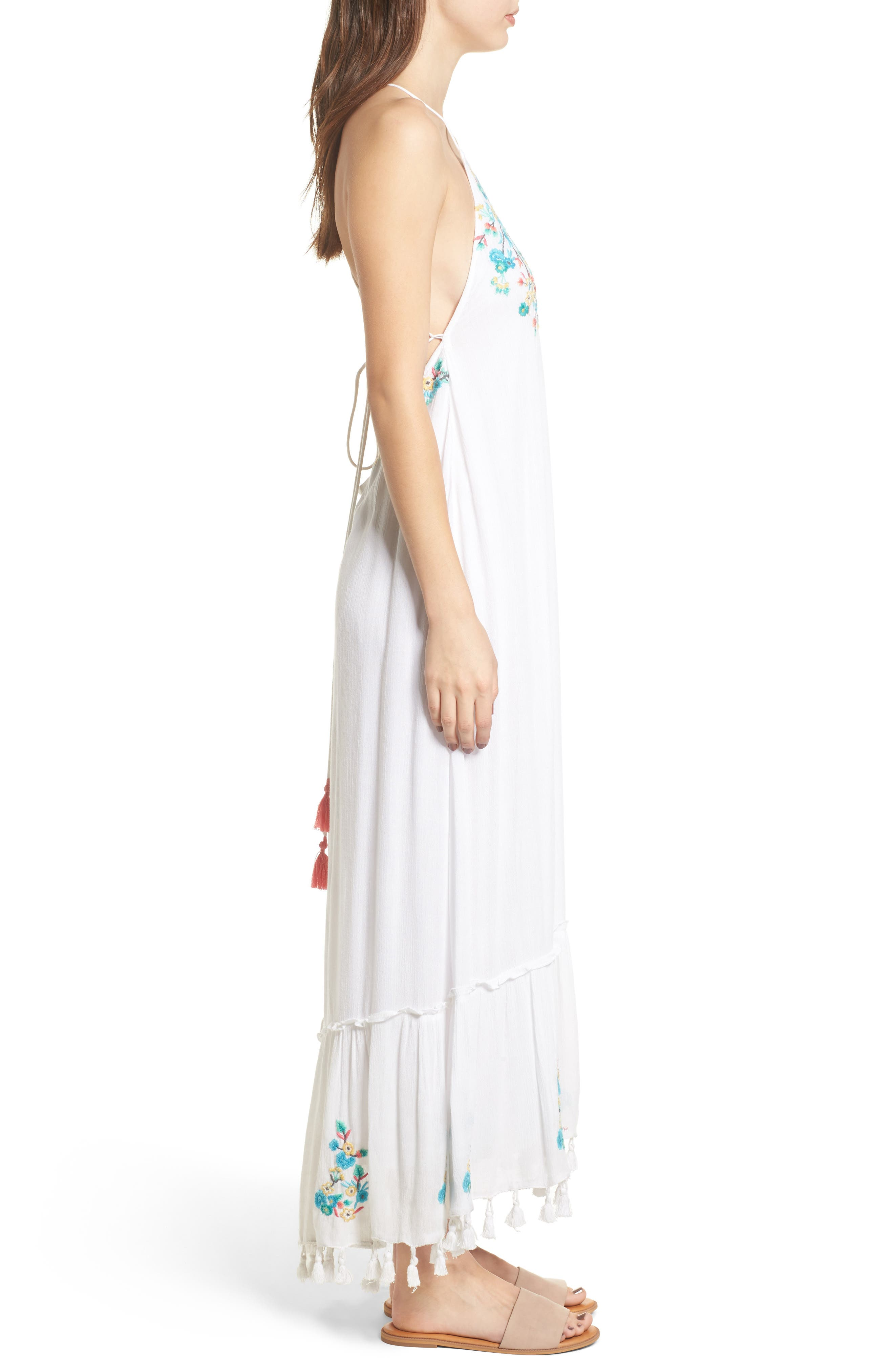 Ashlyn Embroidered Tassel Trim Maxi Dress,                             Alternate thumbnail 3, color,                             100