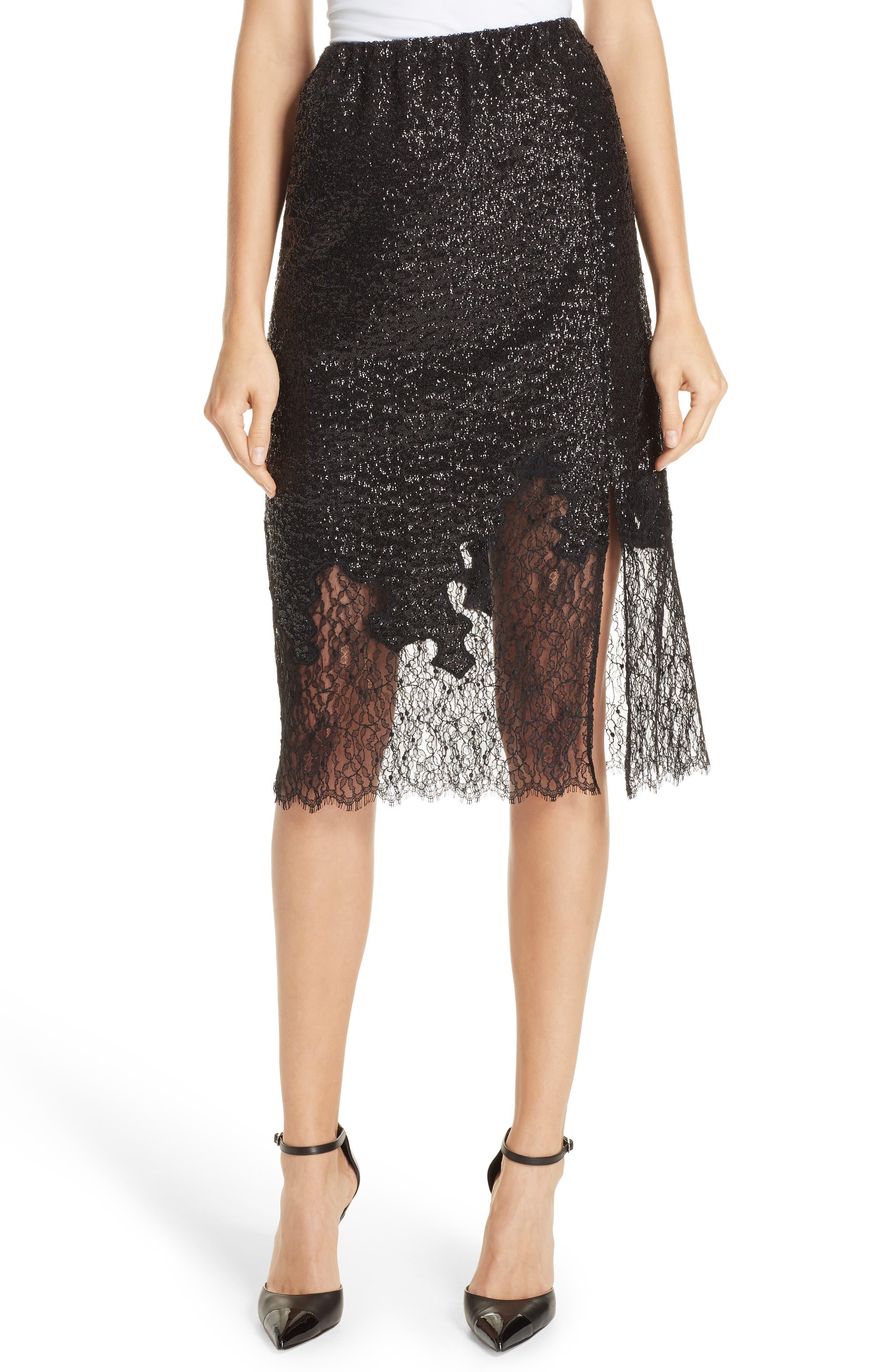 Sequin Lace Skirt,                         Main,                         color, BLACK