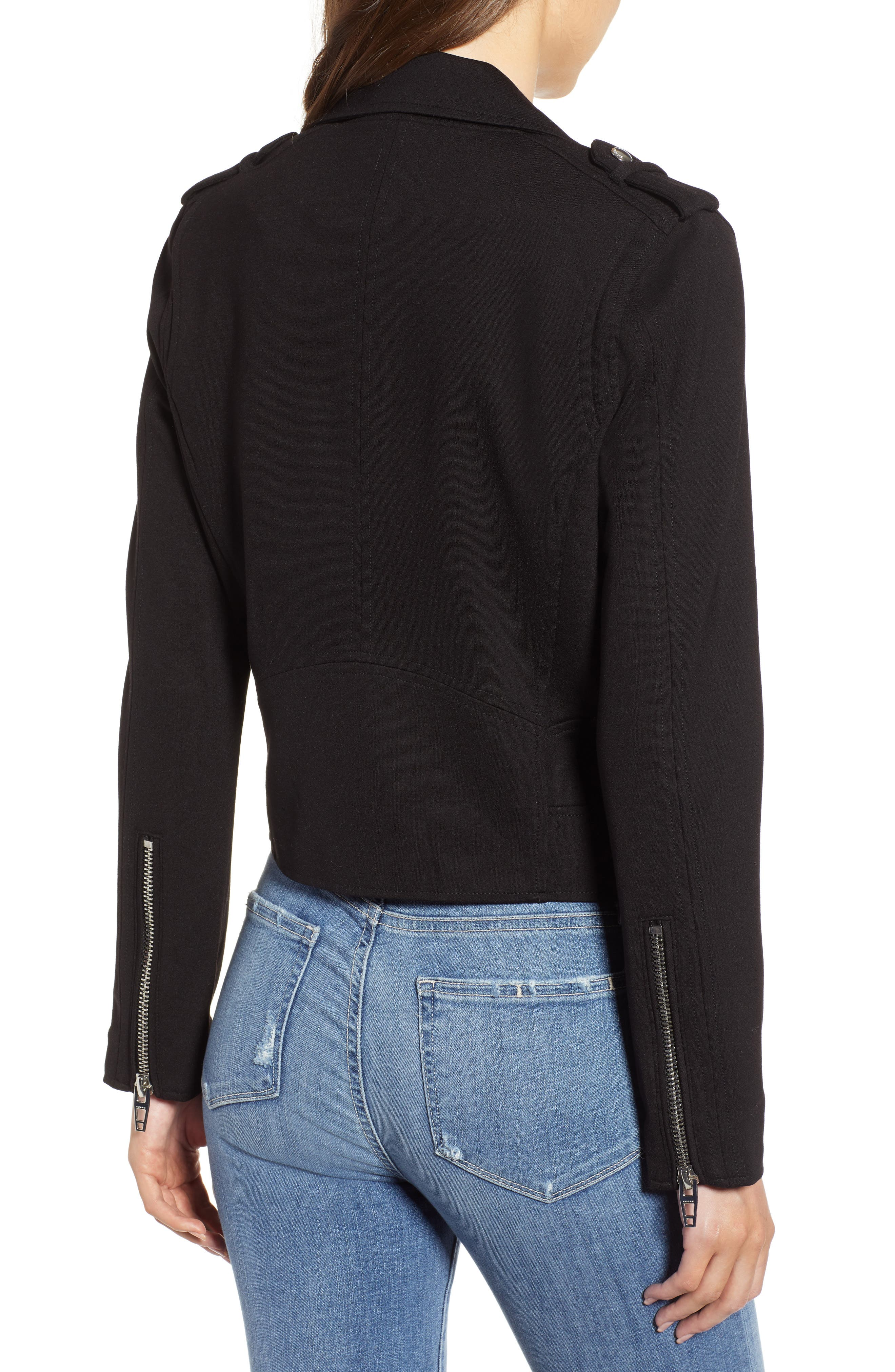 Knit Moto Jacket,                             Alternate thumbnail 2, color,                             CAVIAR