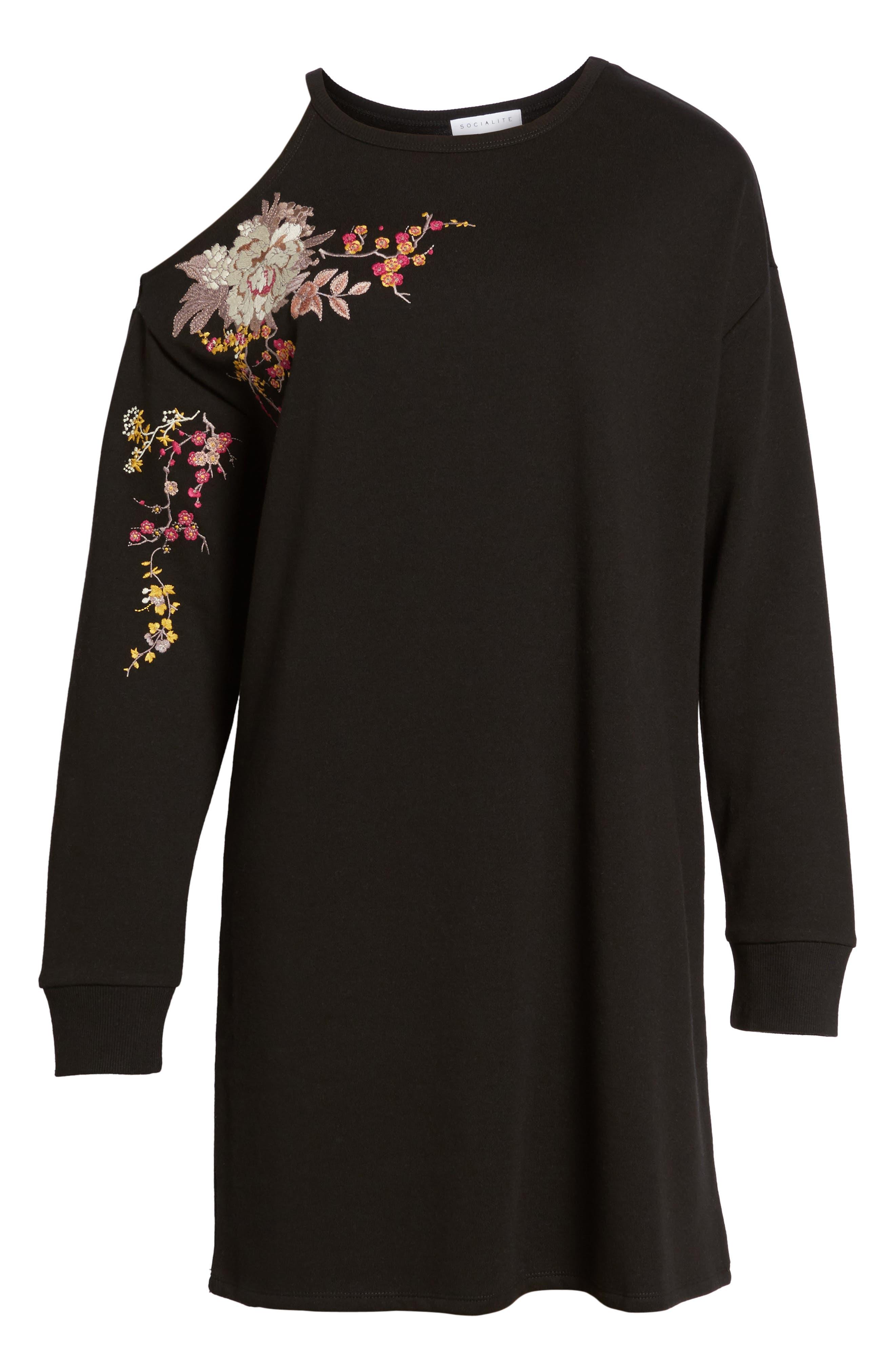 Embroidered Sweatshirt Dress,                             Alternate thumbnail 6, color,                             001