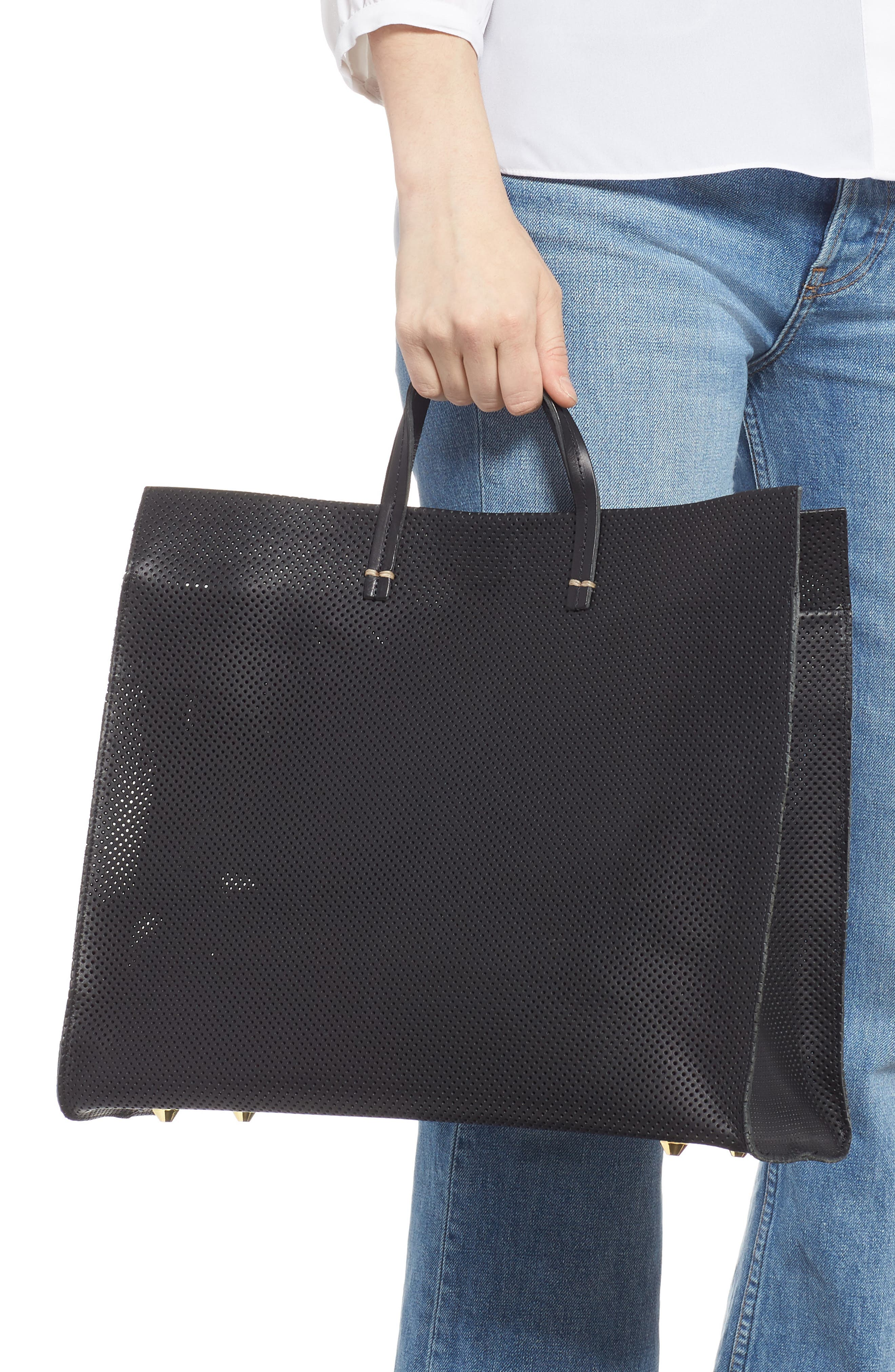 Simple Perforated Leather Tote,                             Alternate thumbnail 2, color,                             BLACK PERF