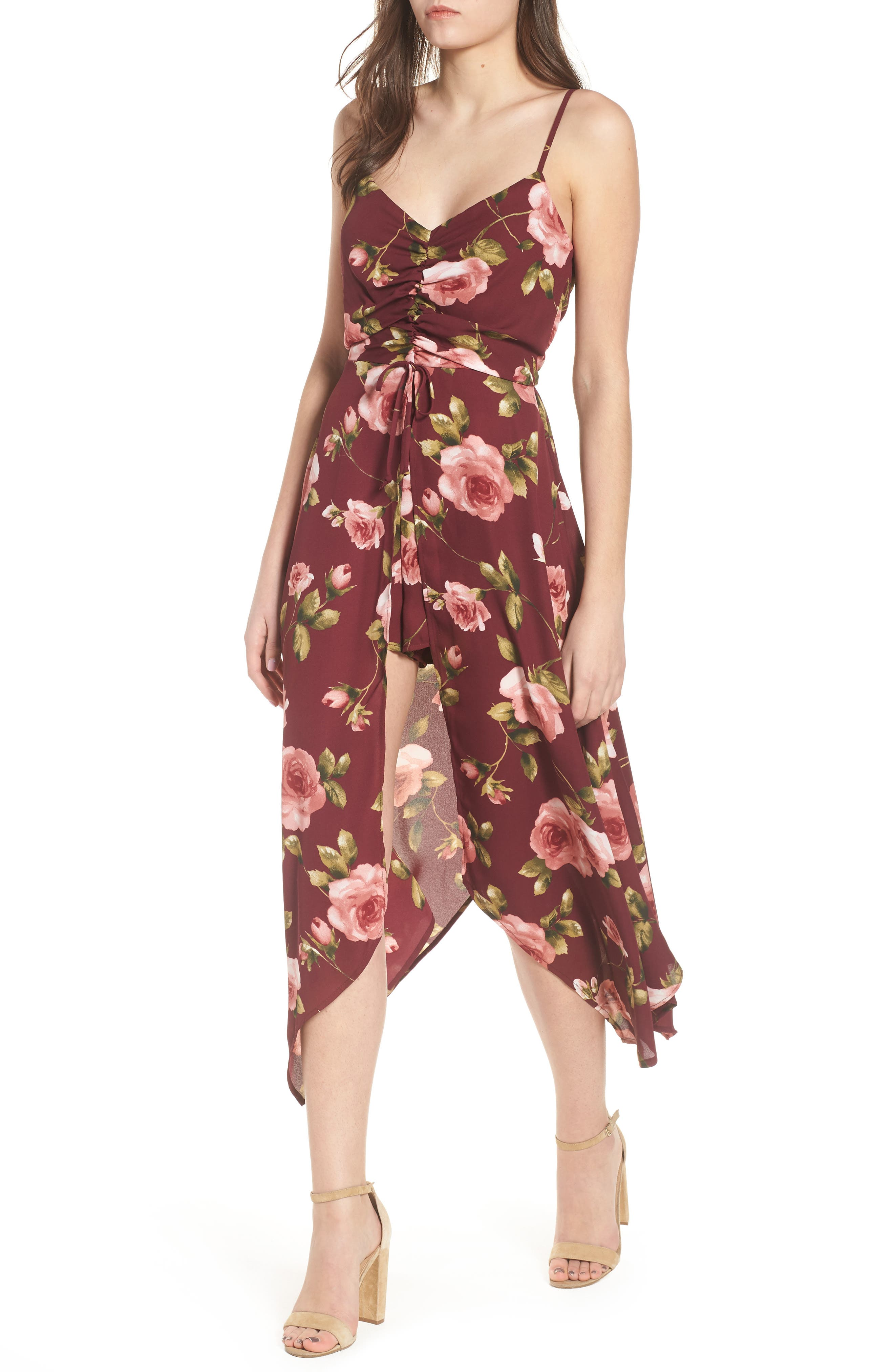 Floral Midi Romper,                         Main,                         color, 930