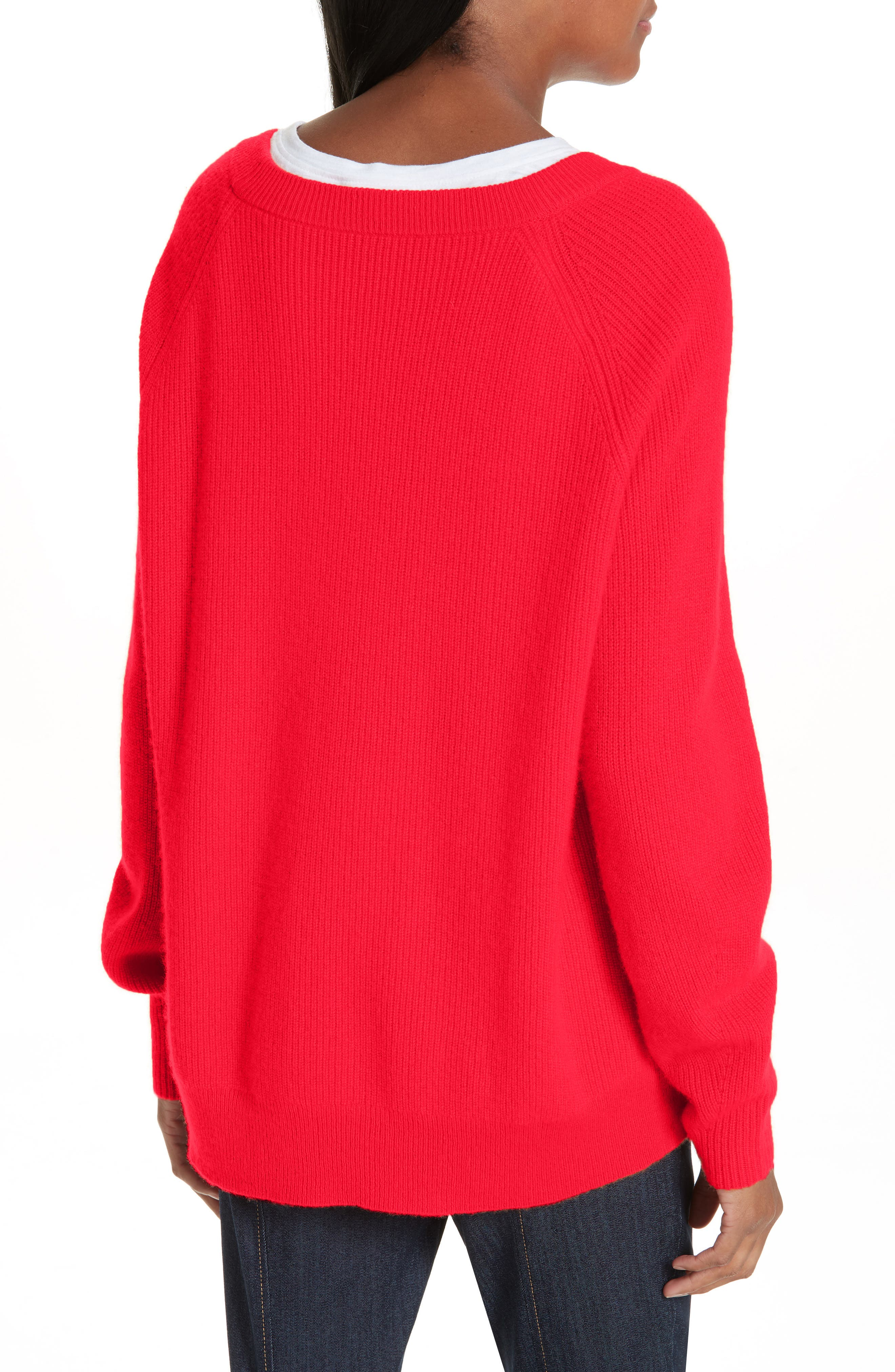 Lillie Layered Cashmere Sweater,                             Alternate thumbnail 2, color,                             POPPY PINK