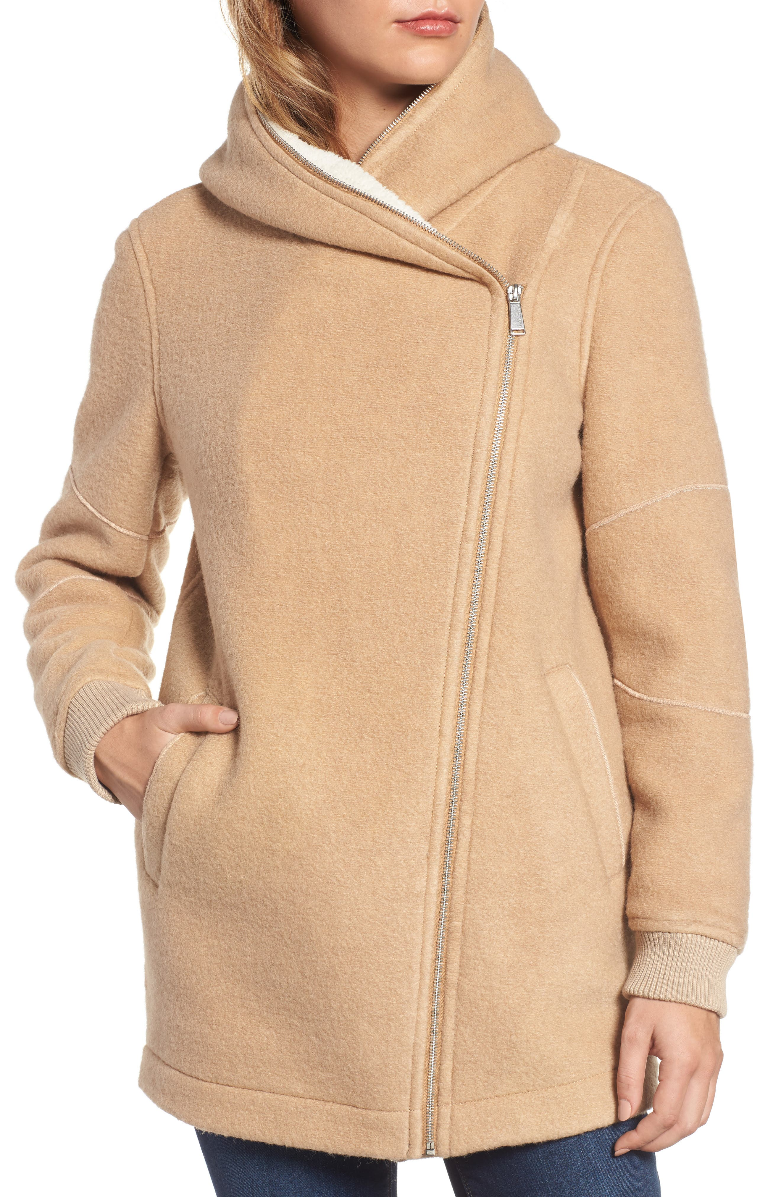 Asymmetrical Hooded Wool Blend Coat,                             Alternate thumbnail 4, color,                             280