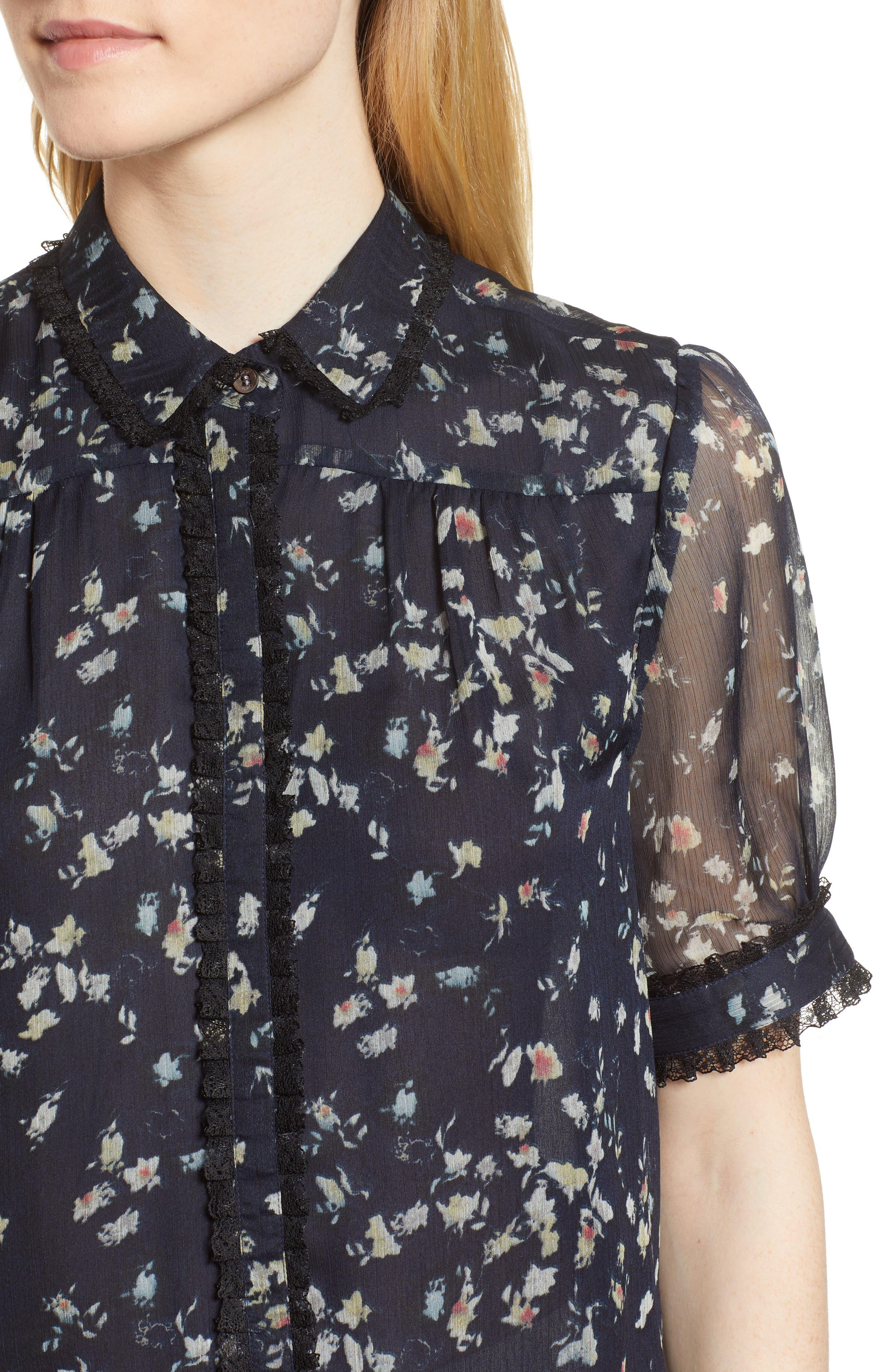 Floral Print Ruffle Trim Shirt,                             Alternate thumbnail 4, color,                             008