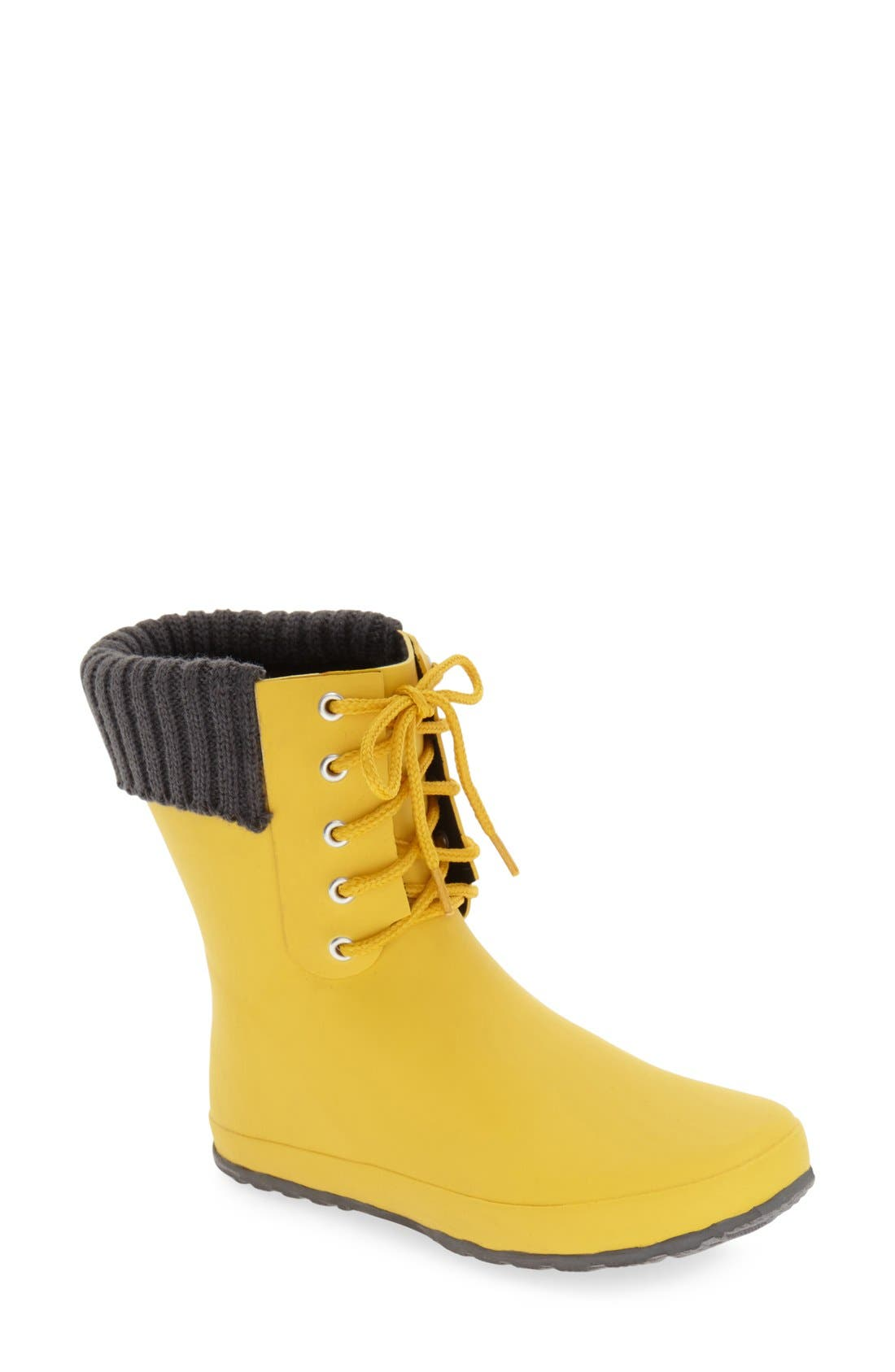 Lace-Up Weatherproof Rain Boot,                             Main thumbnail 1, color,                             BUTTER YELLOW