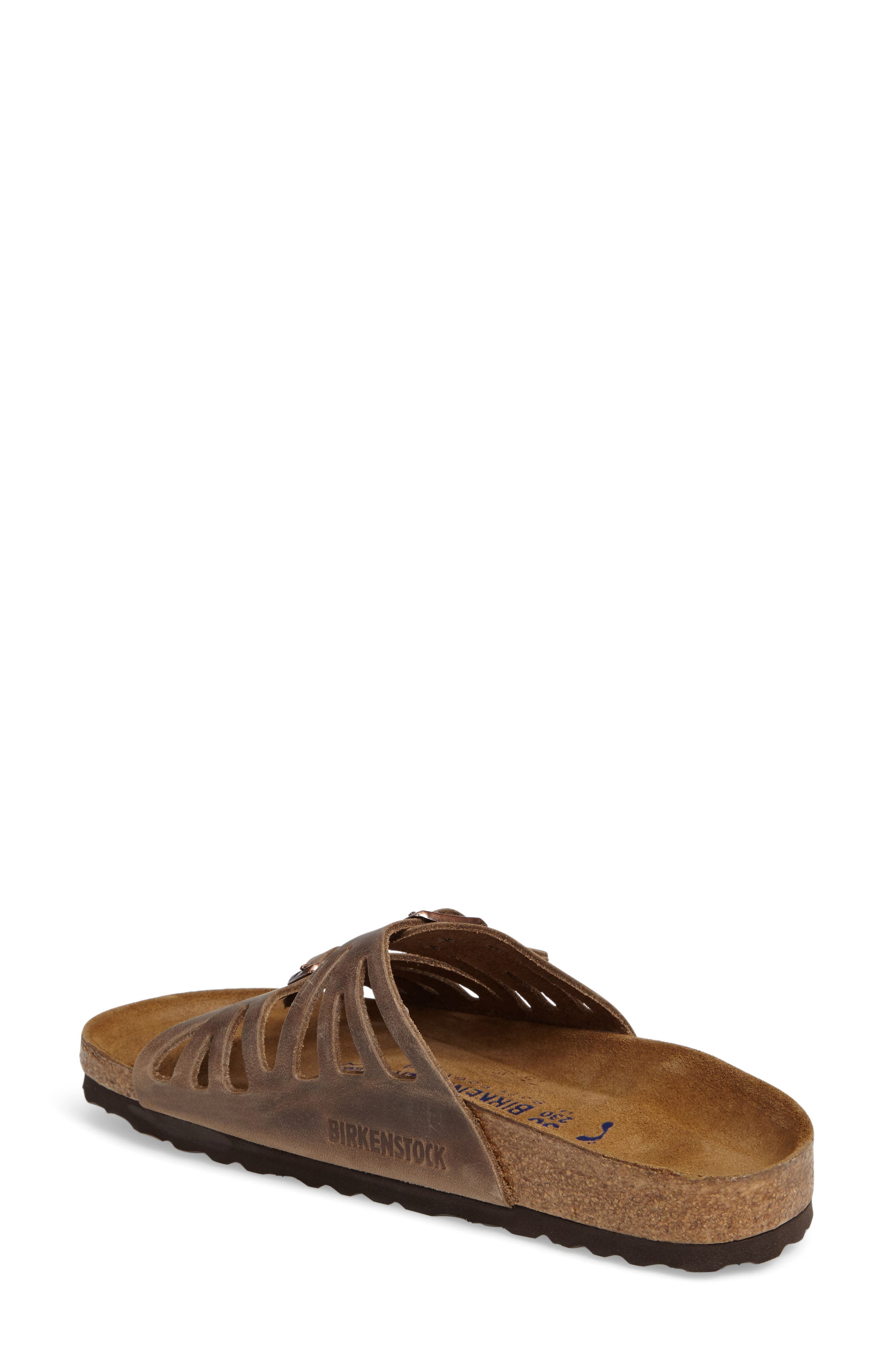 Granada Soft Footbed Oiled Leather Sandal,                             Alternate thumbnail 3, color,                             TOBACCO