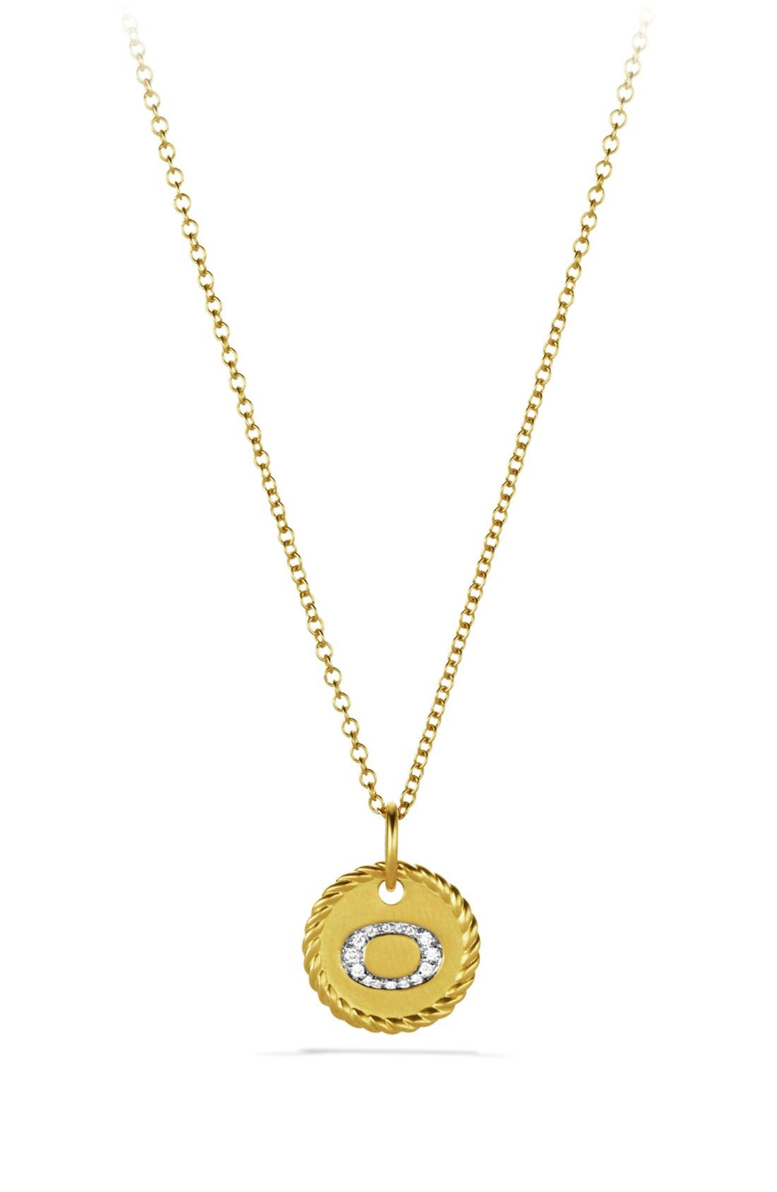 'Cable Collectibles' Initial Pendant with Diamonds in Gold on Chain,                         Main,                         color, B