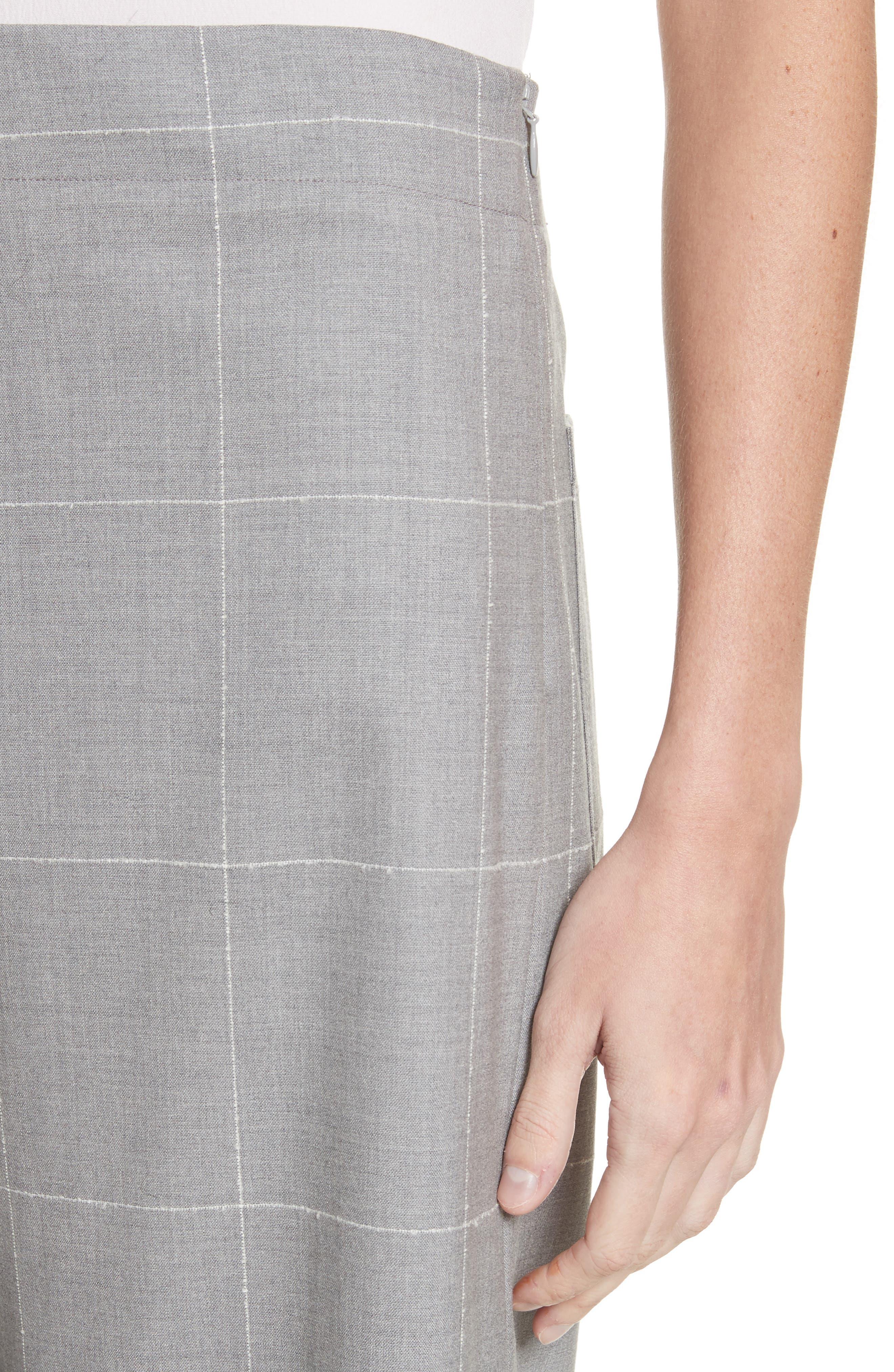 Windowpane Check Wool Wide Leg Crop Pants,                             Alternate thumbnail 4, color,                             062