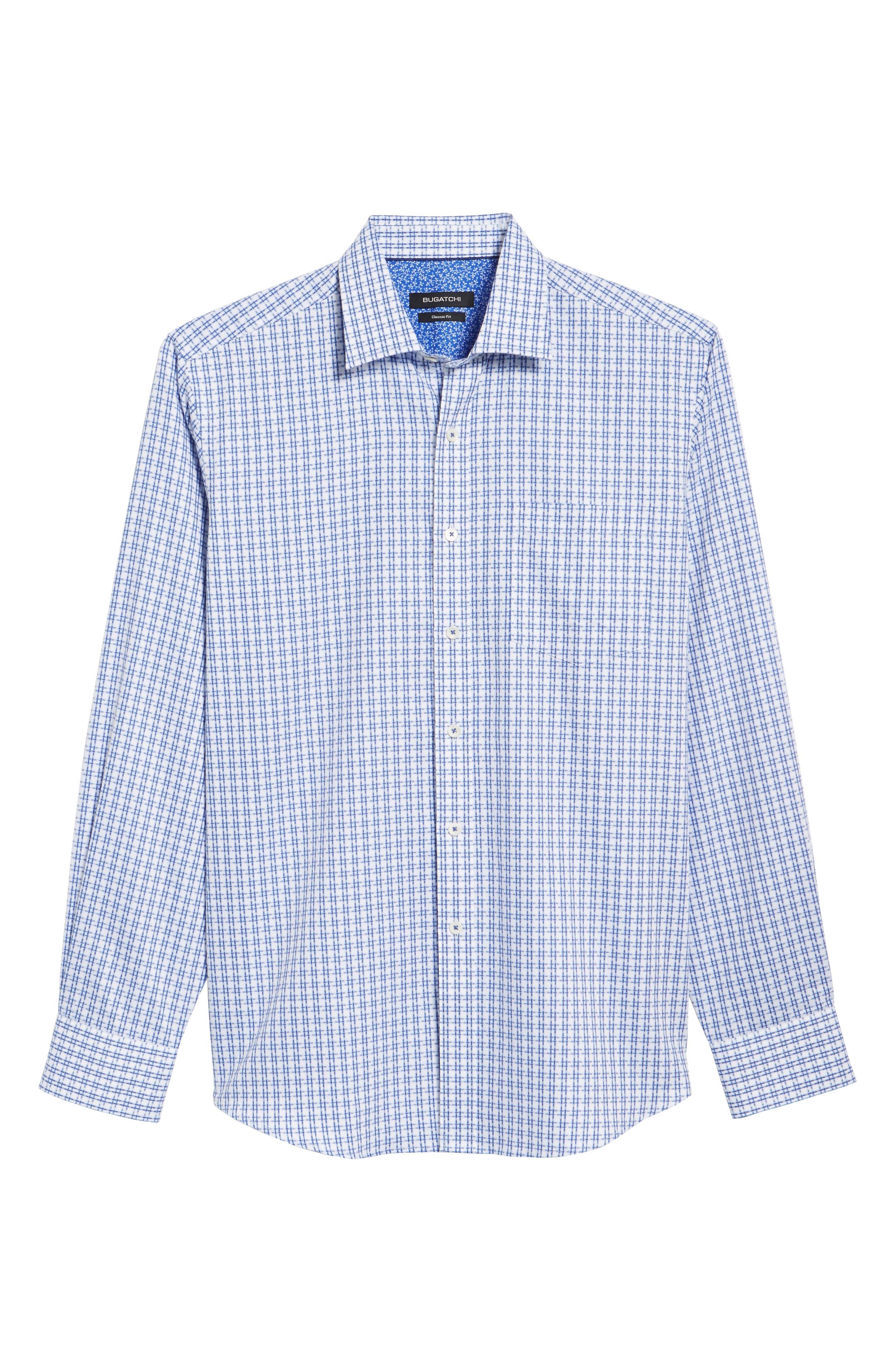 Double Stripe Classic Fit Sport Shirt,                             Alternate thumbnail 6, color,                             NAVY
