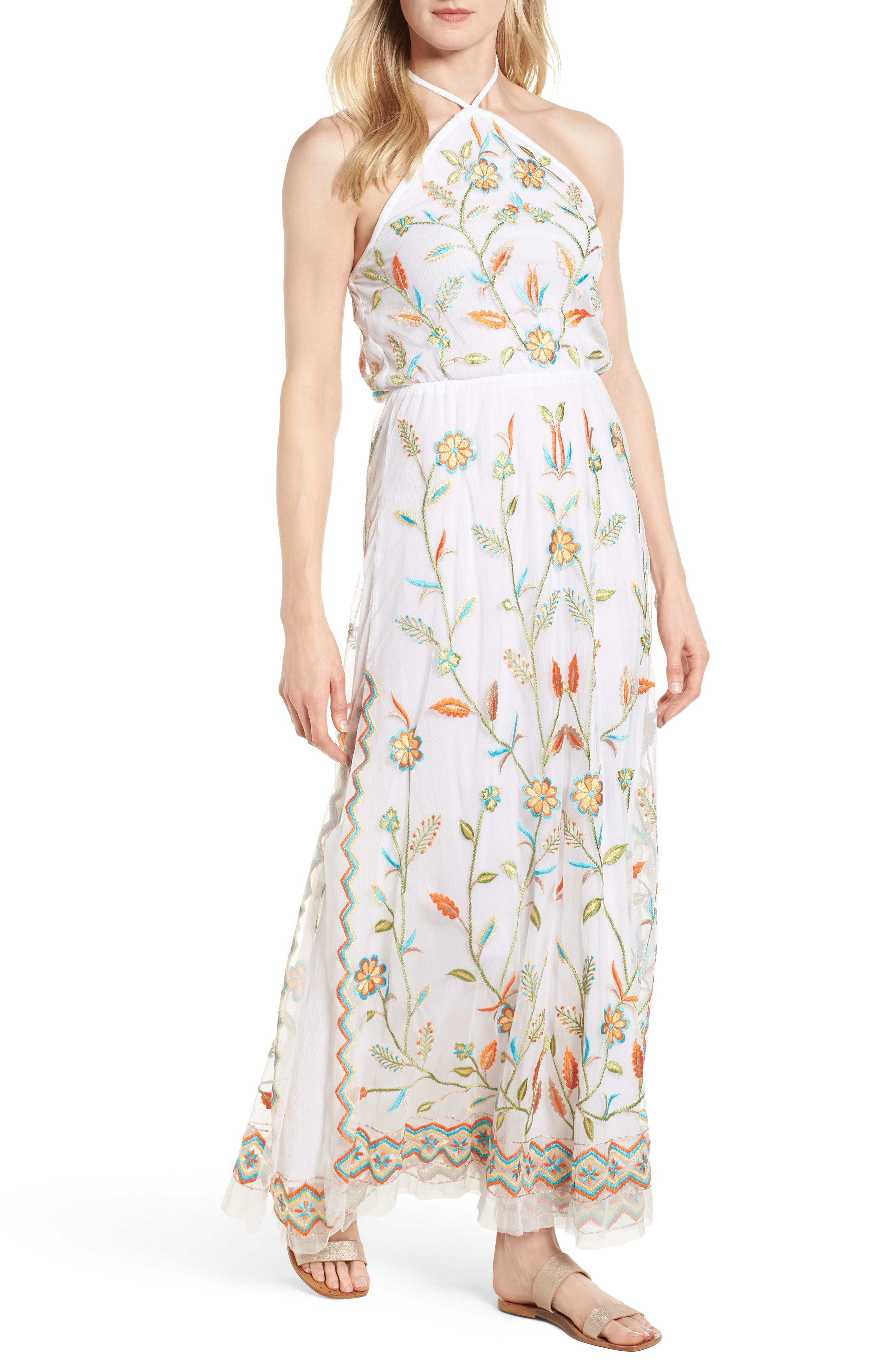 KAS NEW YORK Eve Embroidered Maxi Dress, Main, color, 100