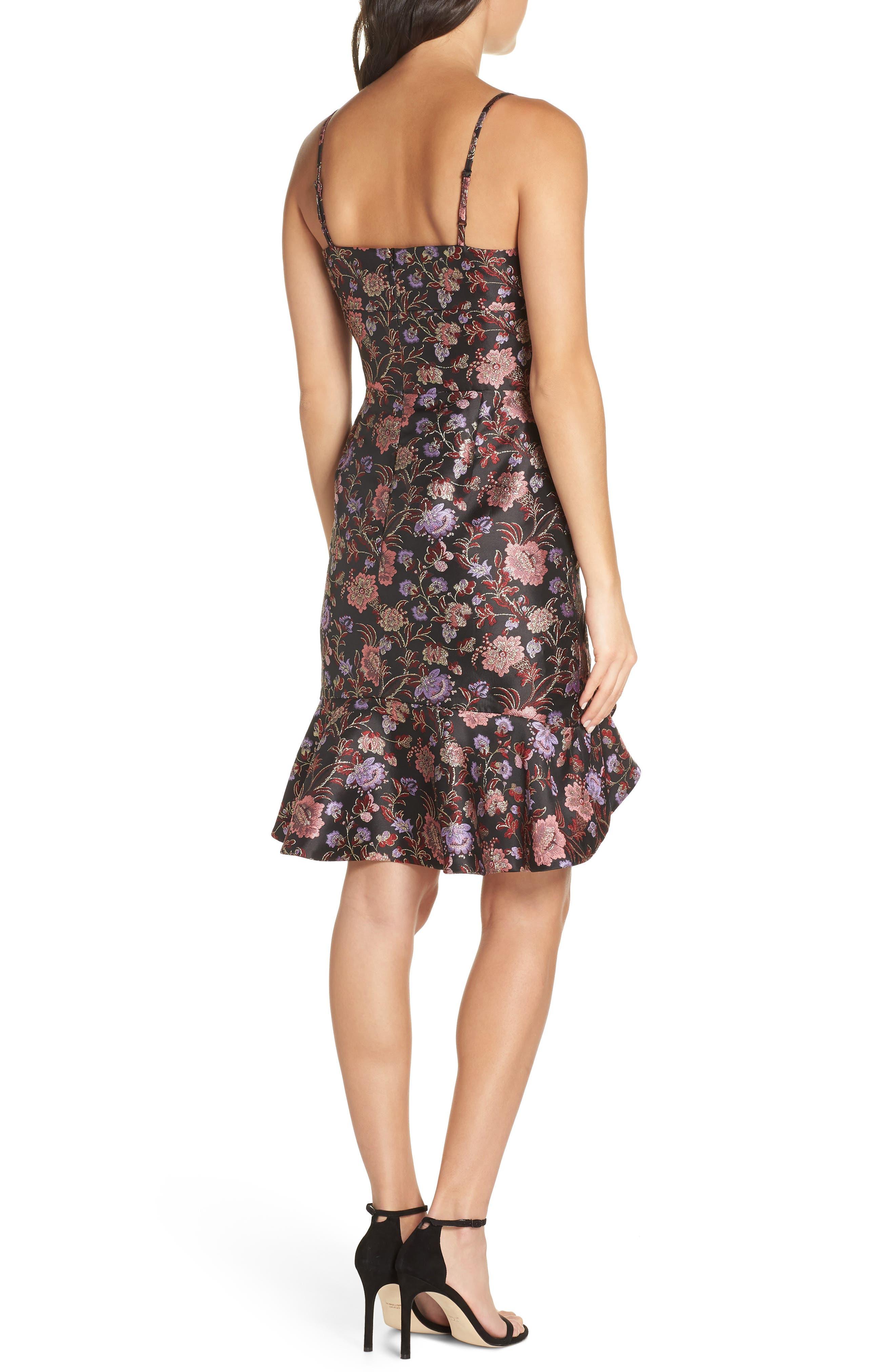 Metallic Jacquard Ruffle Hem Dress,                             Alternate thumbnail 2, color,                             BLACK / PINK COMBO