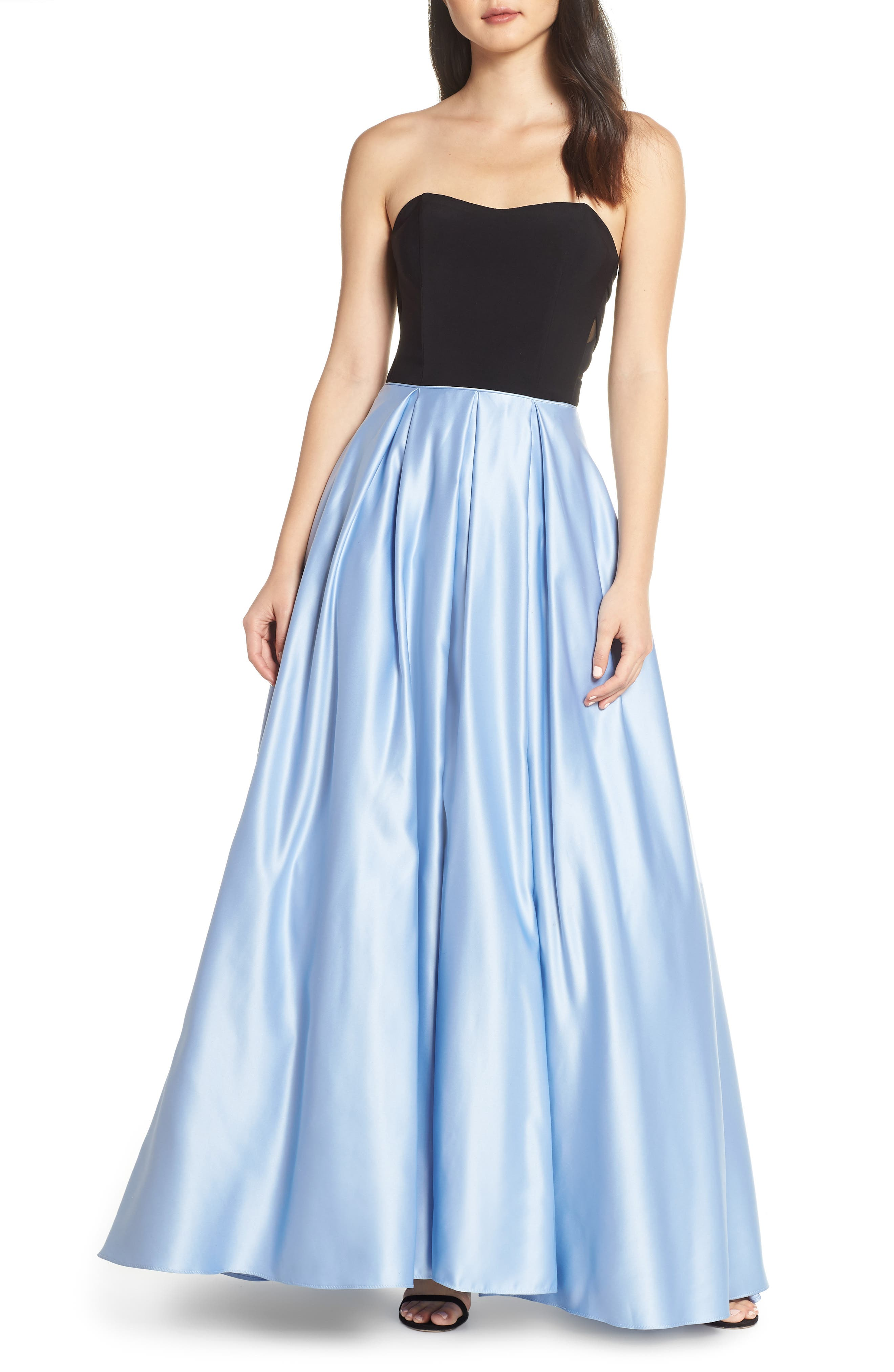Blondie Nites Strapless Satin Skirt Evening Dress, Blue
