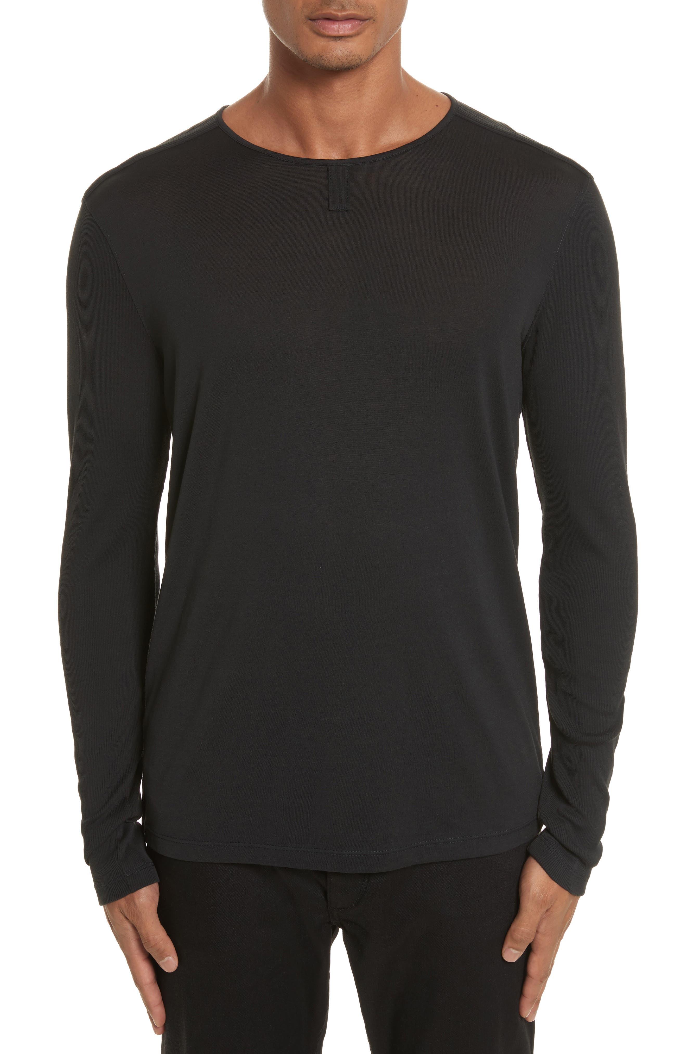 Tab Crewneck T-Shirt,                         Main,                         color, BLACK