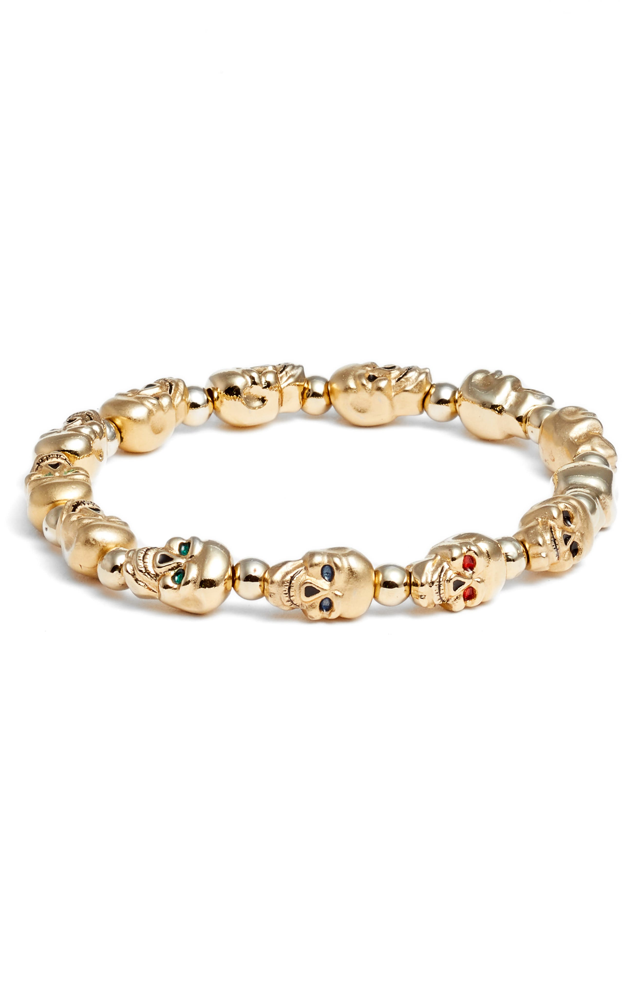Lucky Skulls Stretch Bracelet,                             Main thumbnail 1, color,                             GOLD