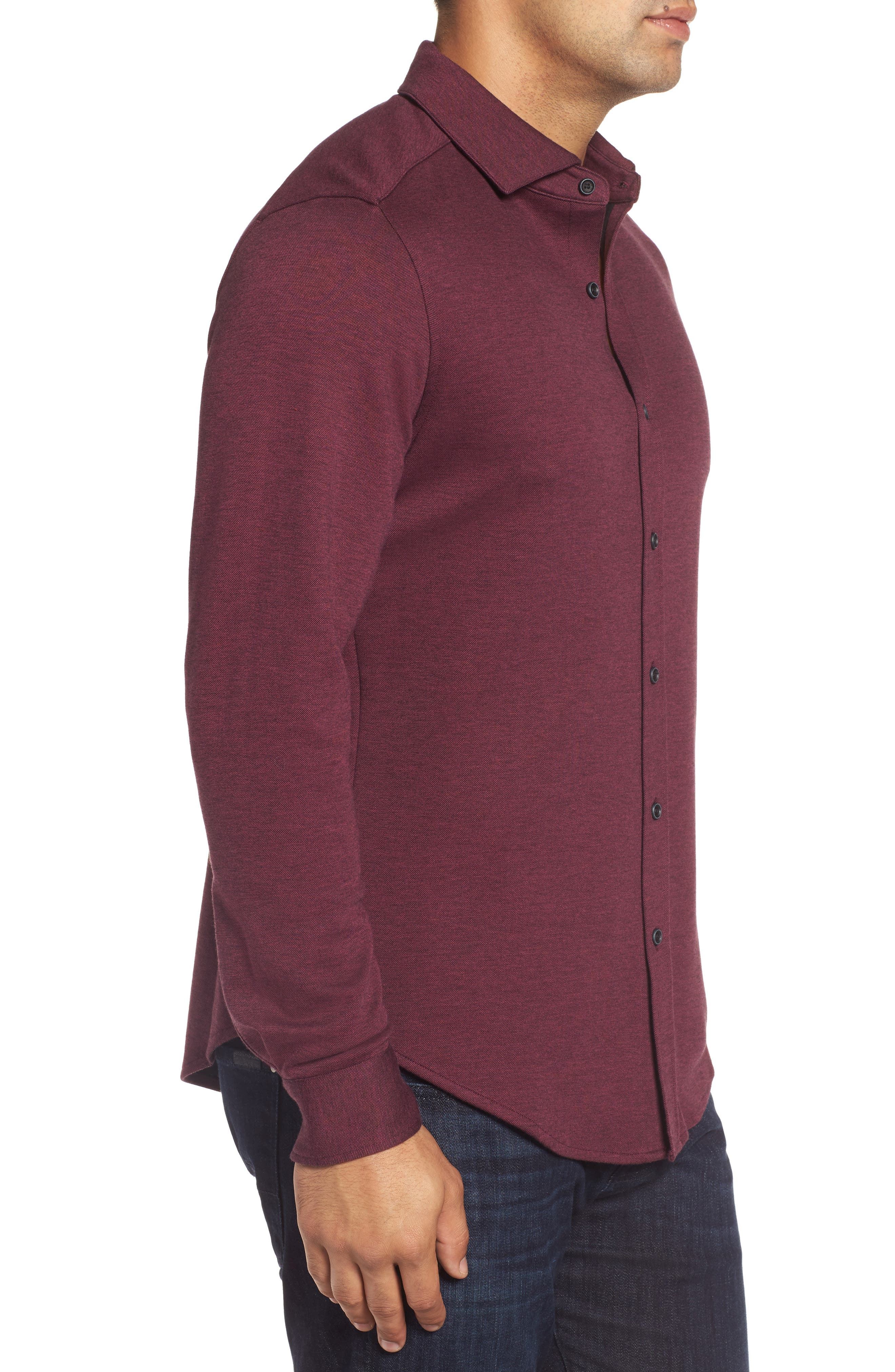 Classic Fit Heathered Knit Sport Shirt,                             Alternate thumbnail 9, color,