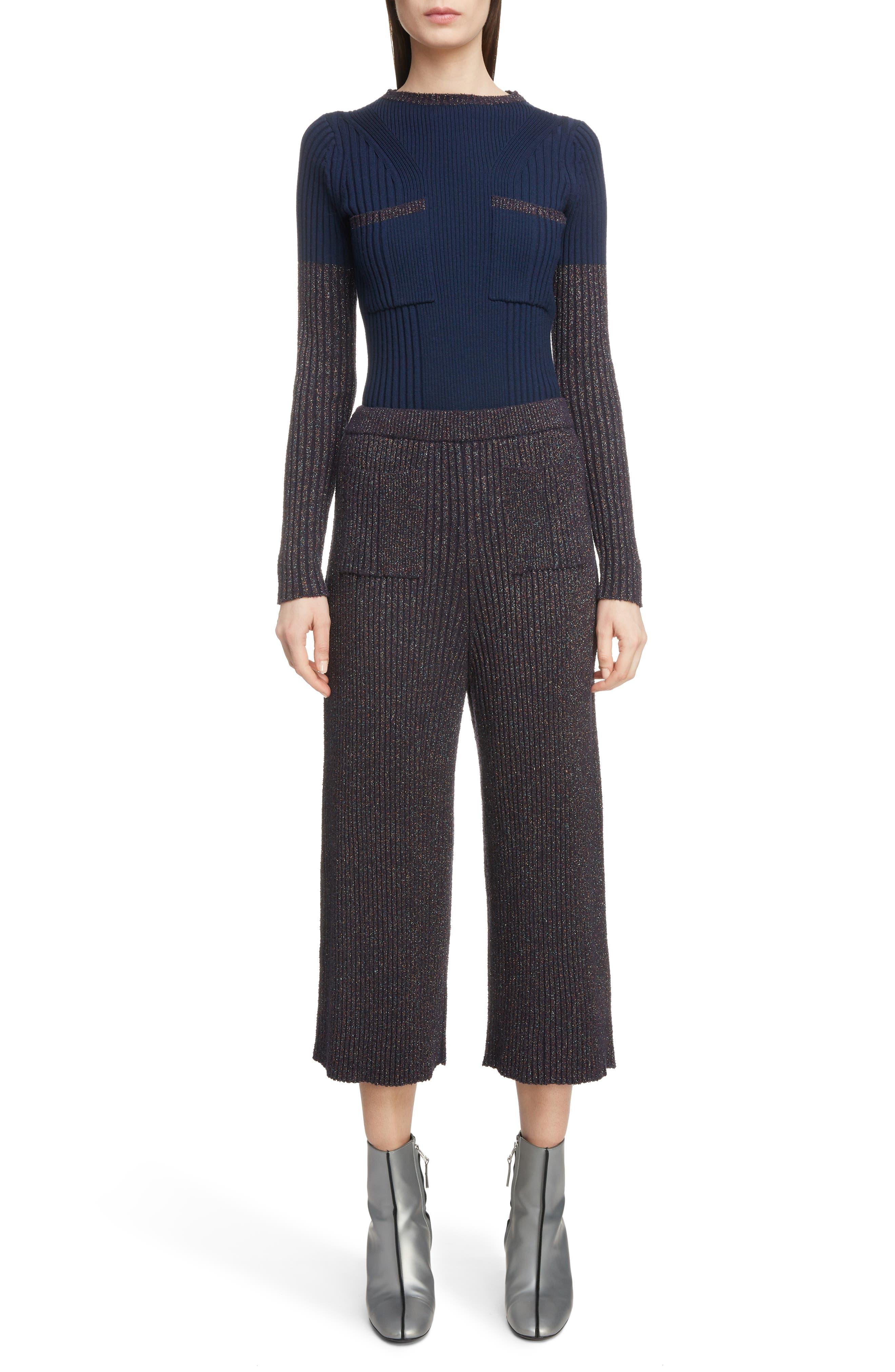 KENZO,                             Metallic Knit Culottes,                             Alternate thumbnail 8, color,                             NAVY BLUE