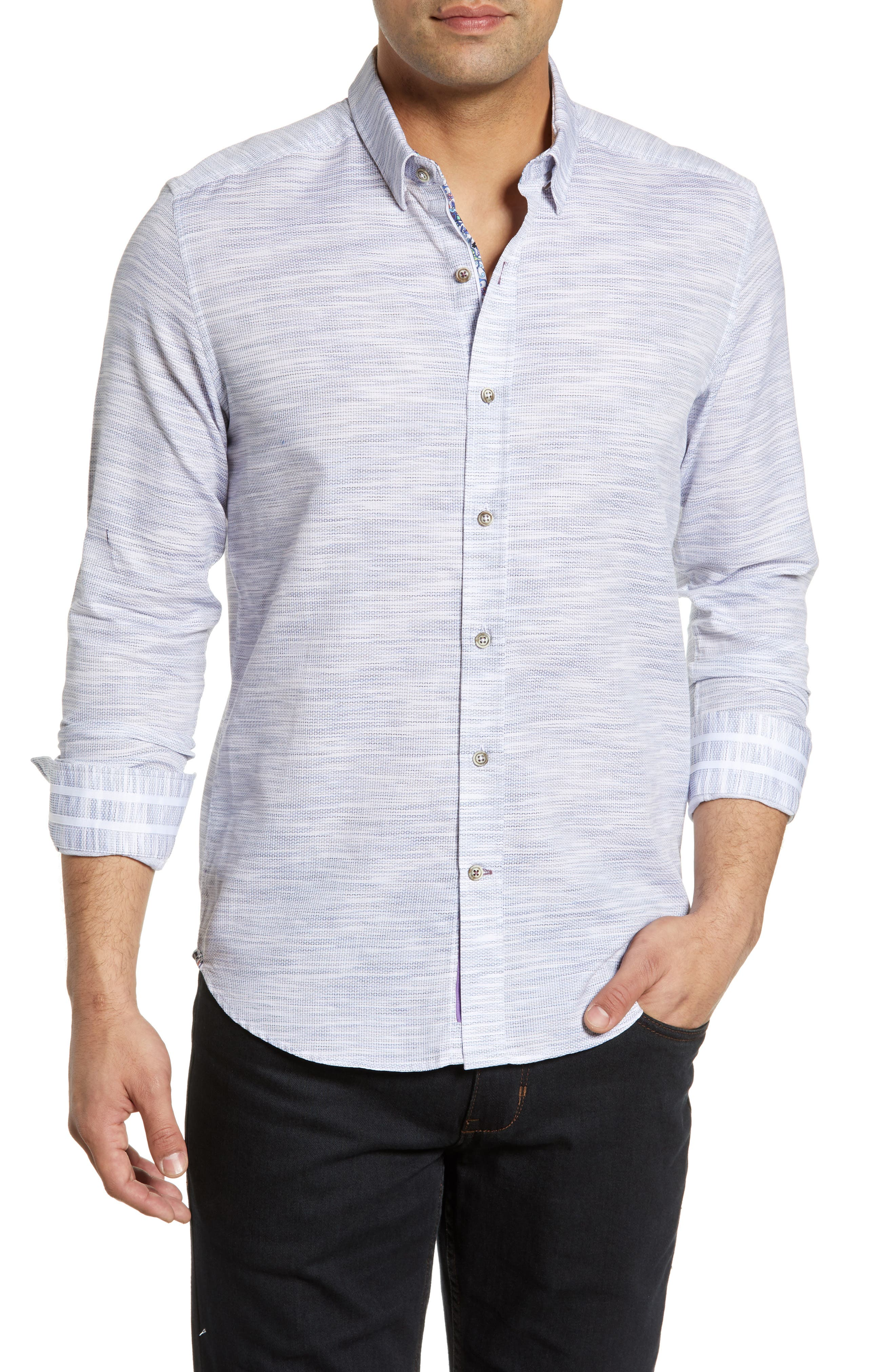 ROBERT GRAHAM Crantor Tailored Fit Knit Sport Shirt, Main, color, WHITE