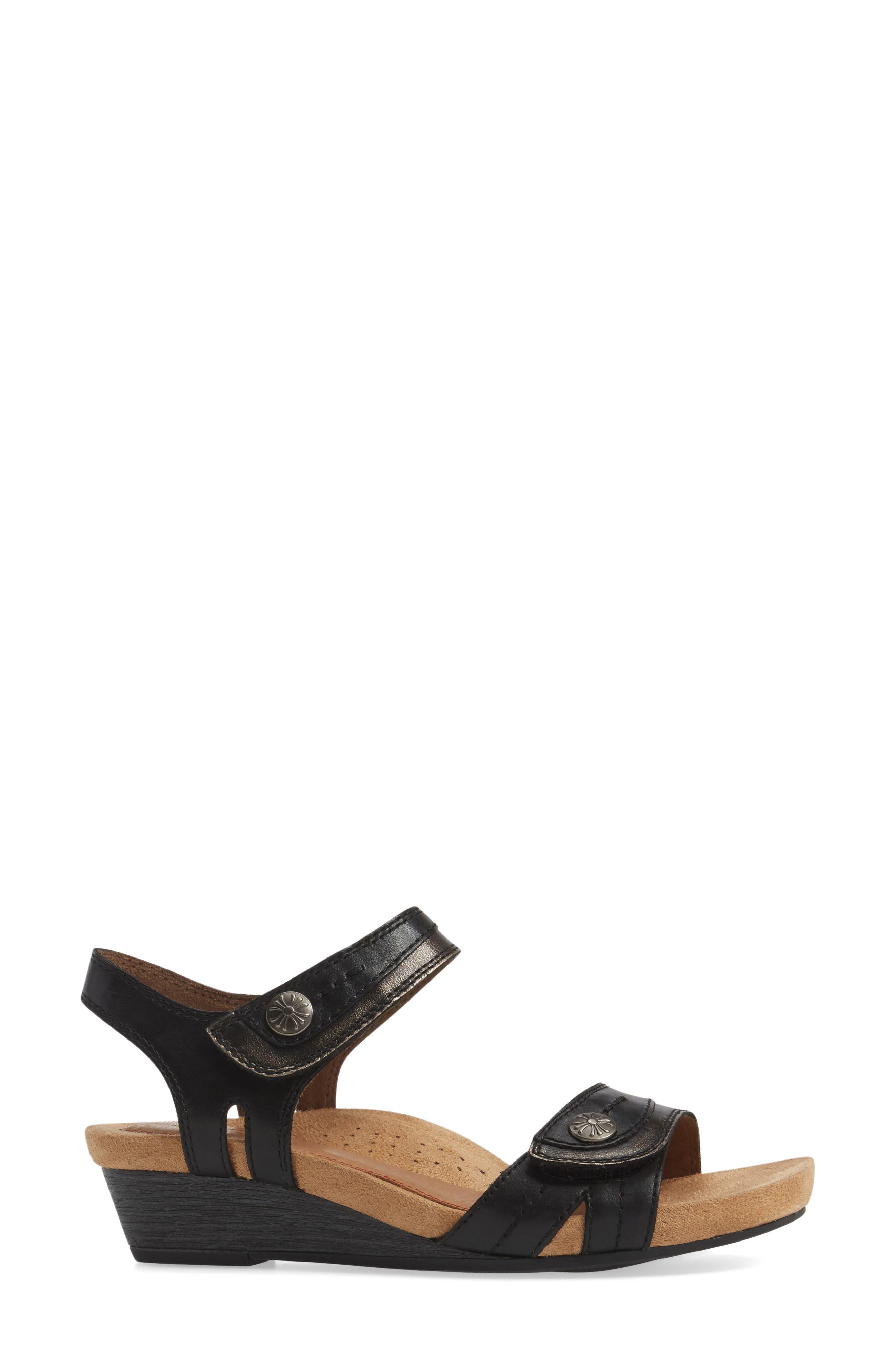 Hollywood Wedge Sandal,                             Alternate thumbnail 3, color,                             BLACK LEATHER