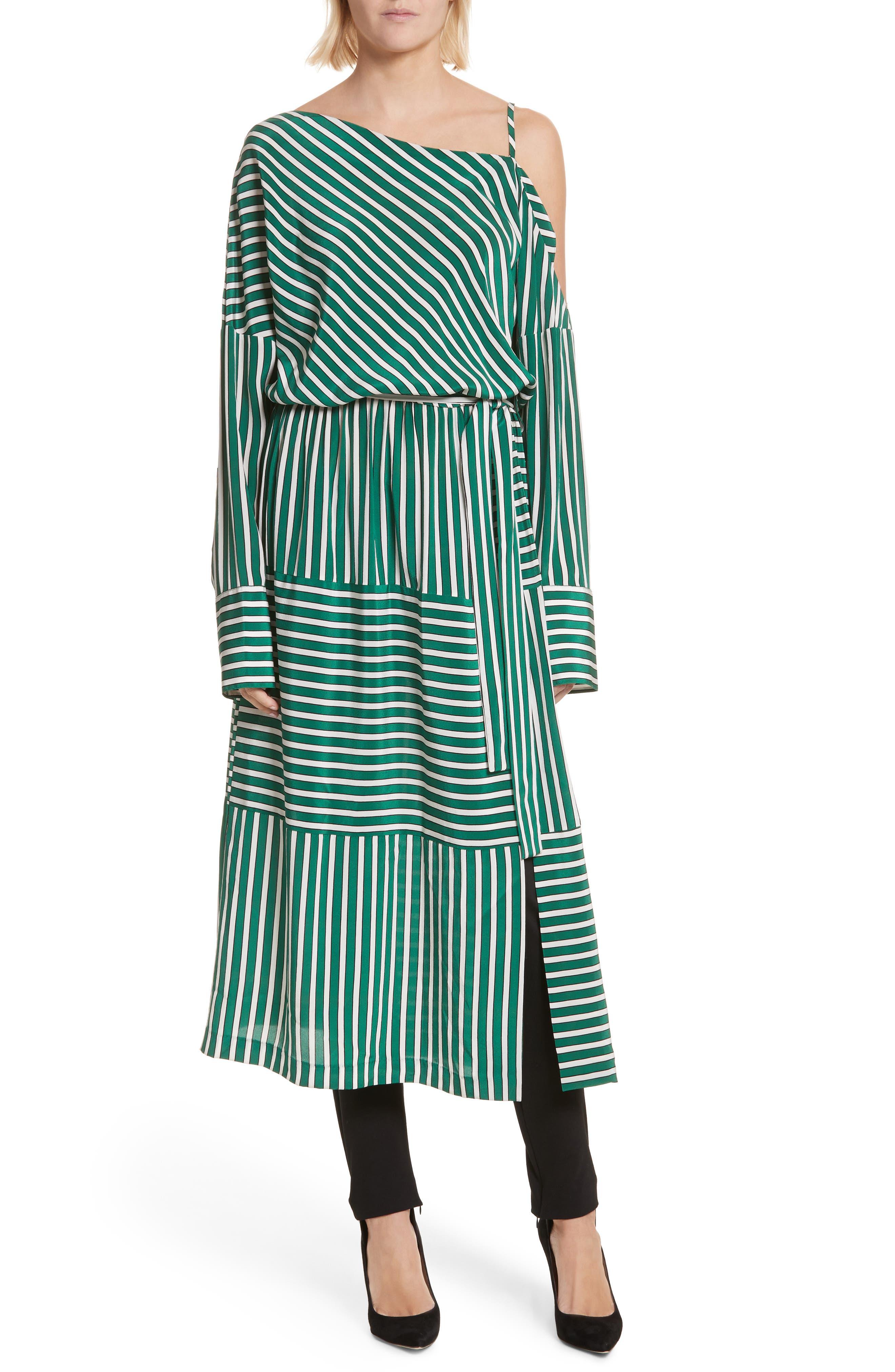 Stripe Silk Cold Shoulder Dress,                             Alternate thumbnail 5, color,                             300