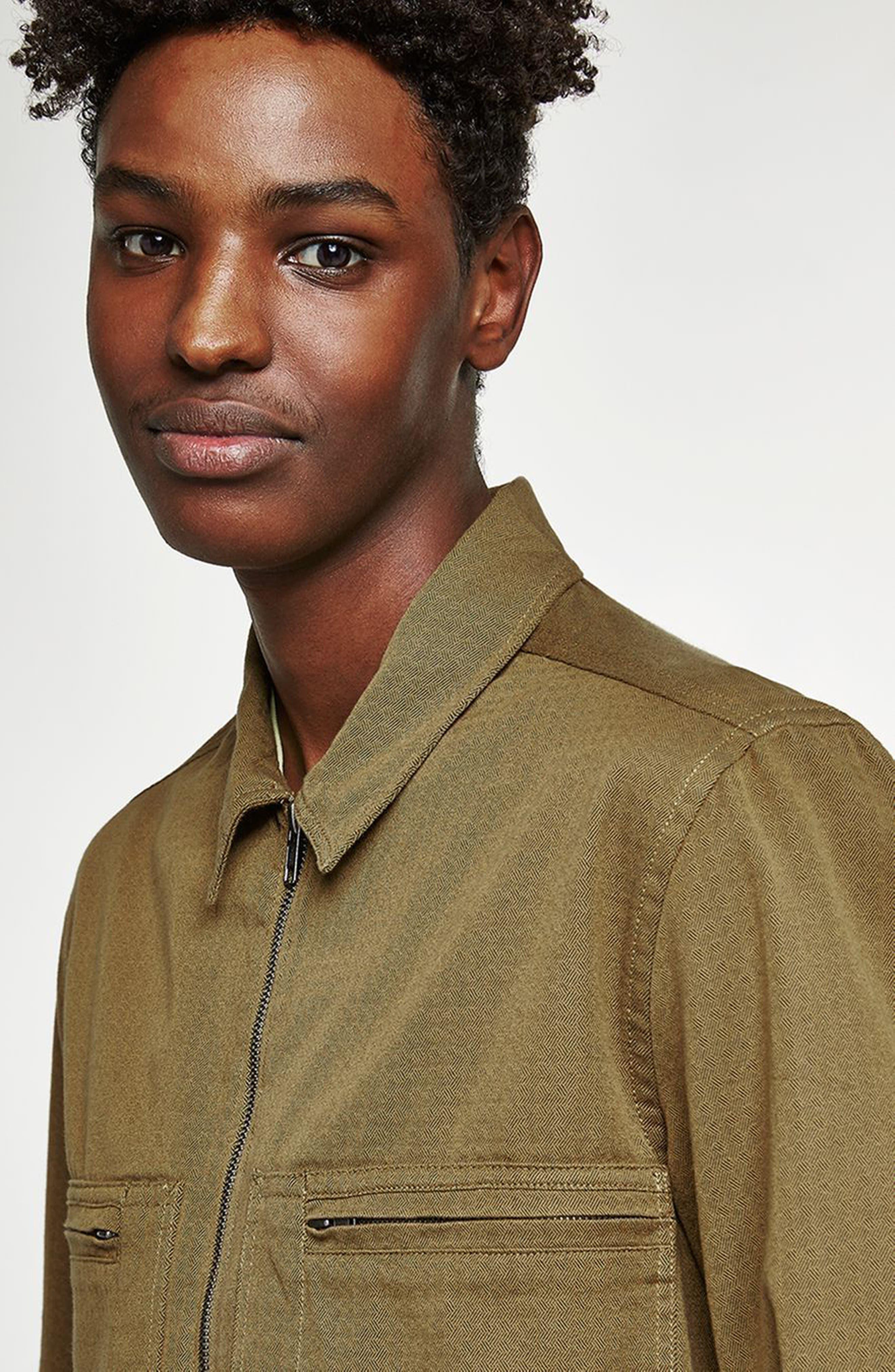 Zip Shirt Jacket,                             Alternate thumbnail 4, color,                             GREEN