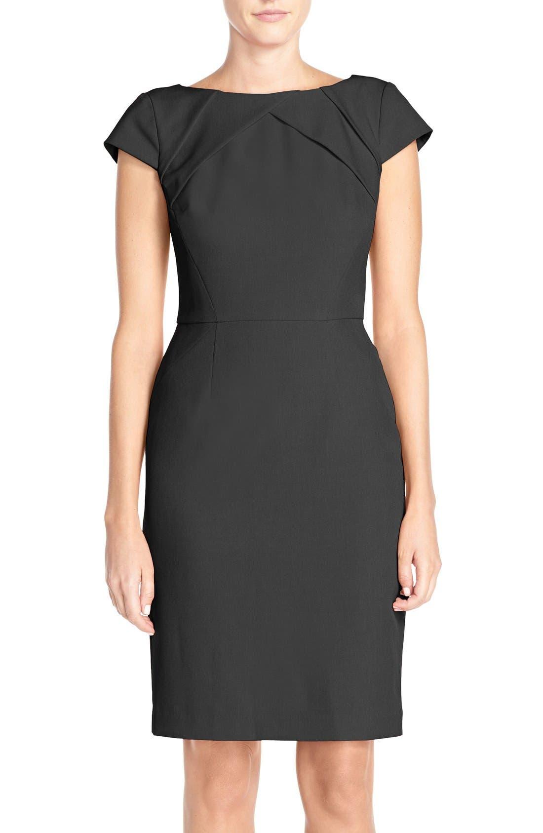 Pleat Detail Cap Sleeve Sheath Dress,                             Main thumbnail 1, color,                             001