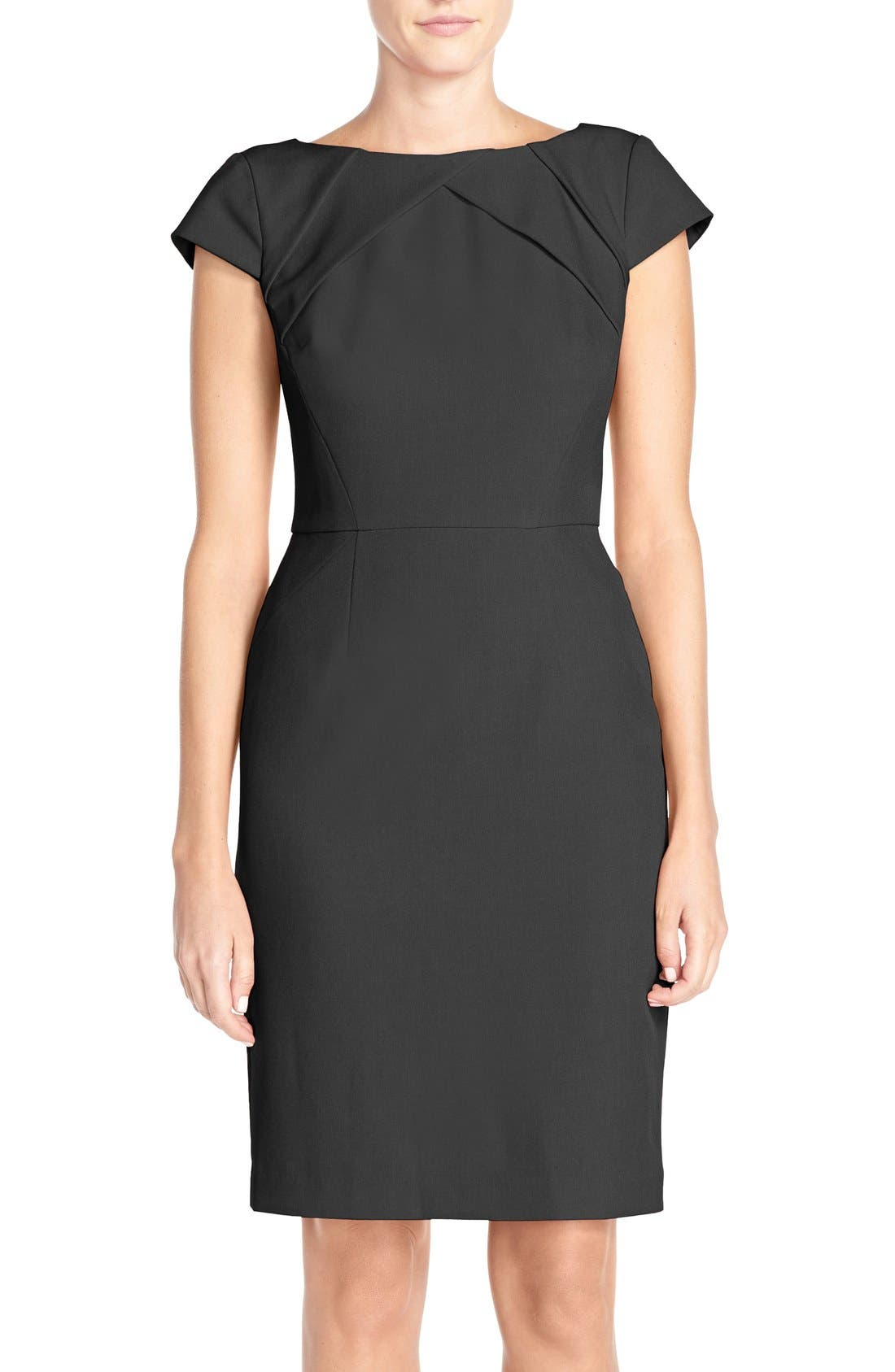 Pleat Detail Cap Sleeve Sheath Dress,                         Main,                         color, 001