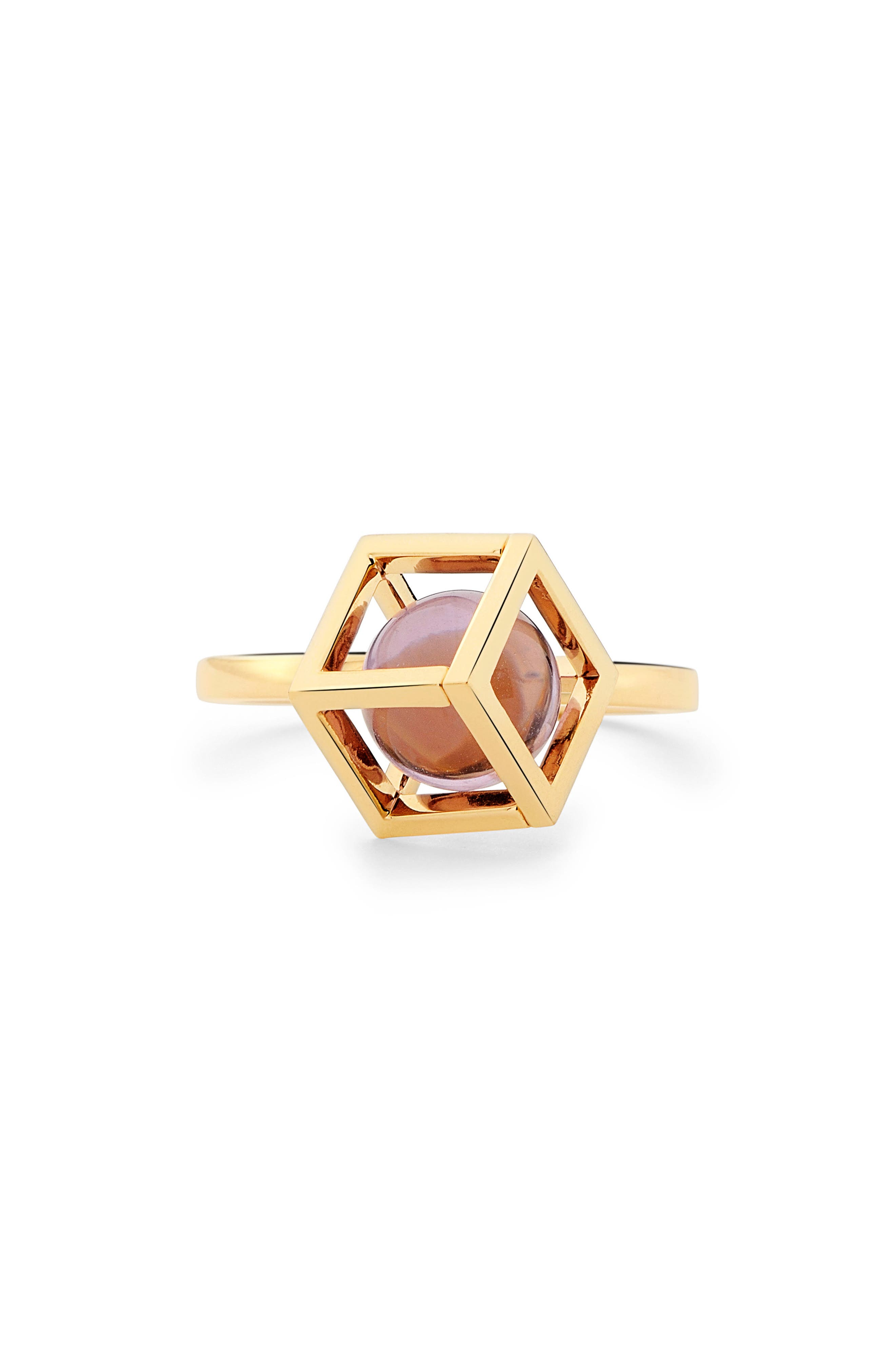 Rotated Solo Amethyst Ring,                             Alternate thumbnail 3, color,                             500