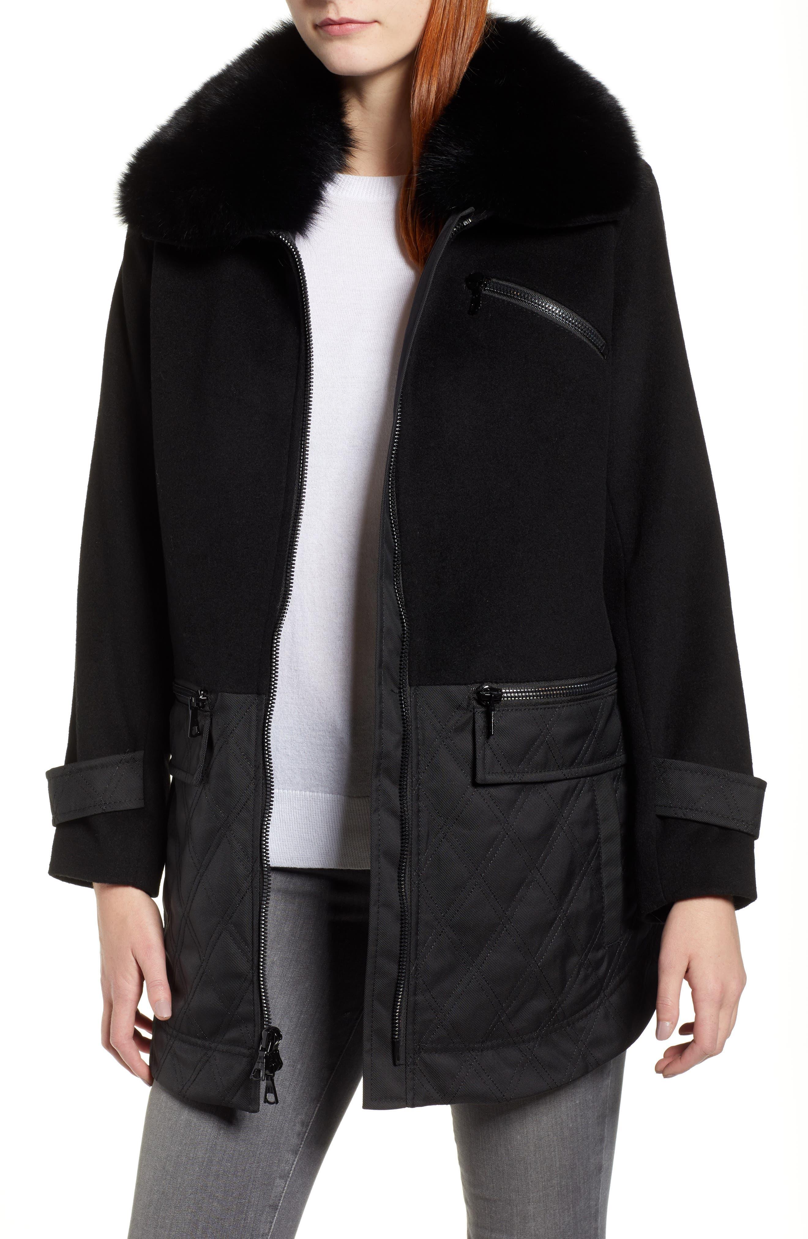 Genuine Fox Fur Trim Mixed Media Coat,                             Main thumbnail 1, color,                             BLACK
