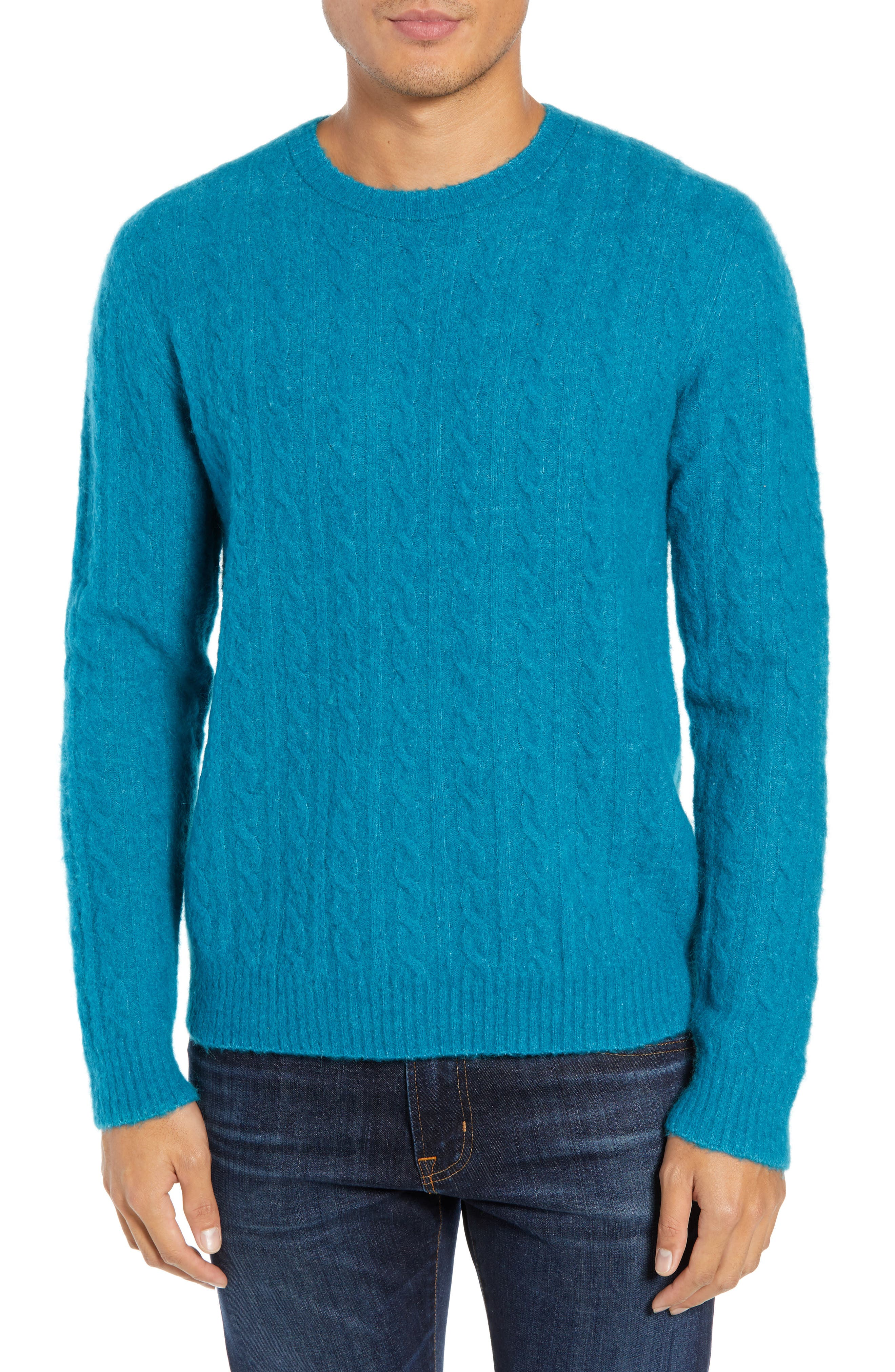 Bonobos Slim Fit Cable Wool Blend Sweater, Blue