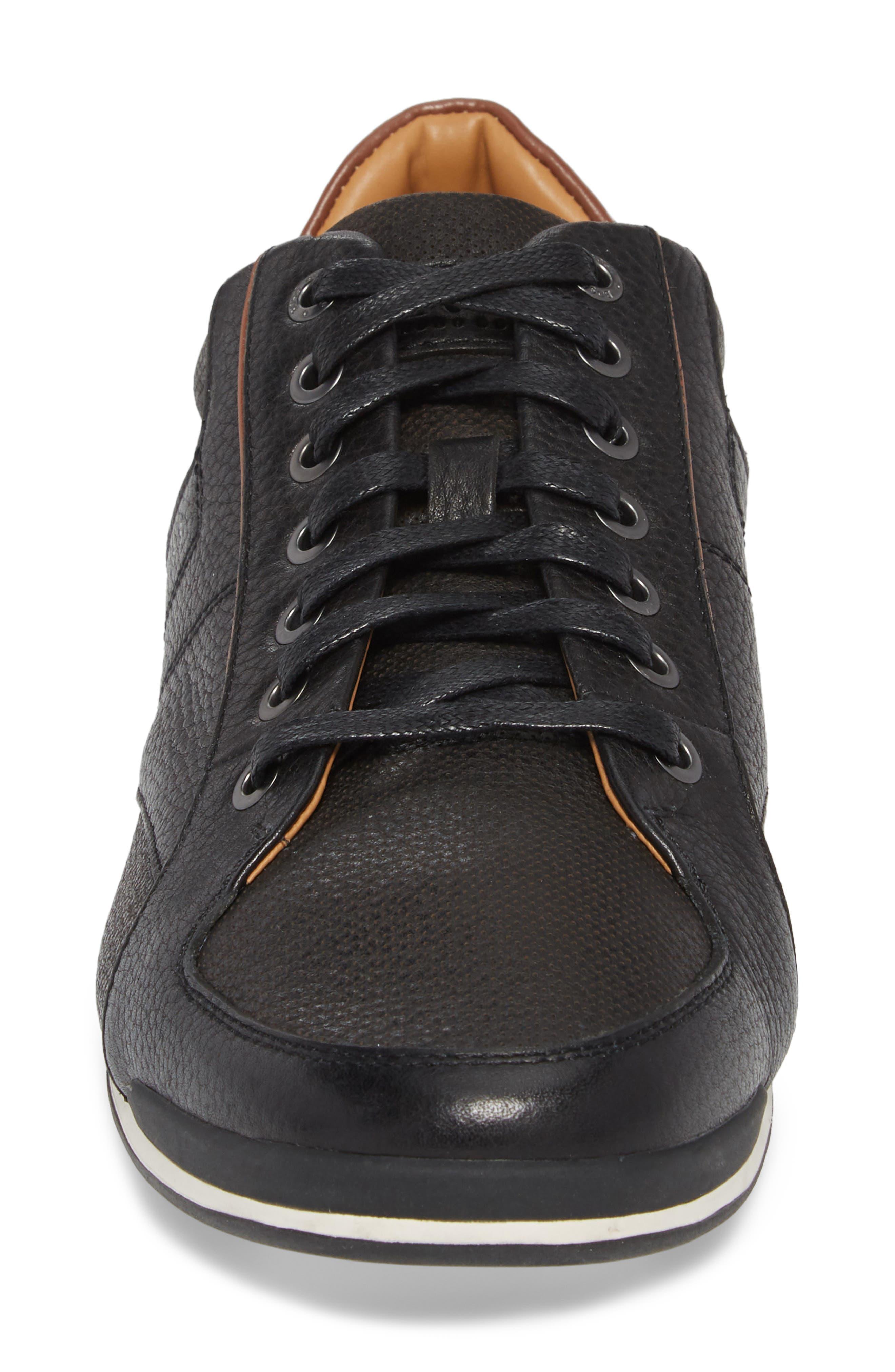 Hugo Boss Saturn Low Top Sneaker,                             Alternate thumbnail 4, color,                             BLACK LEATHER