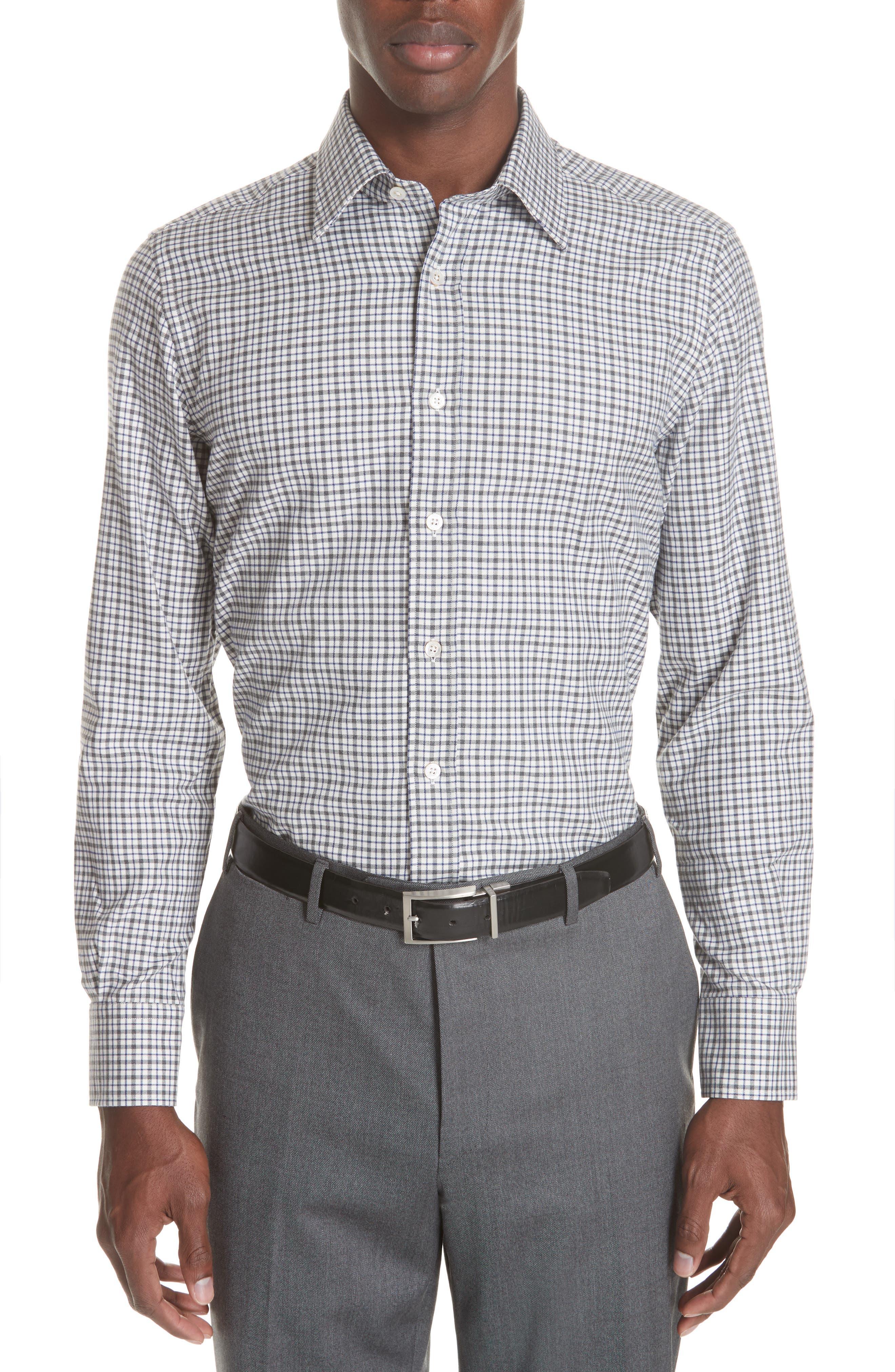 Regular Fit Check Dress Shirt,                             Main thumbnail 1, color,                             GREY
