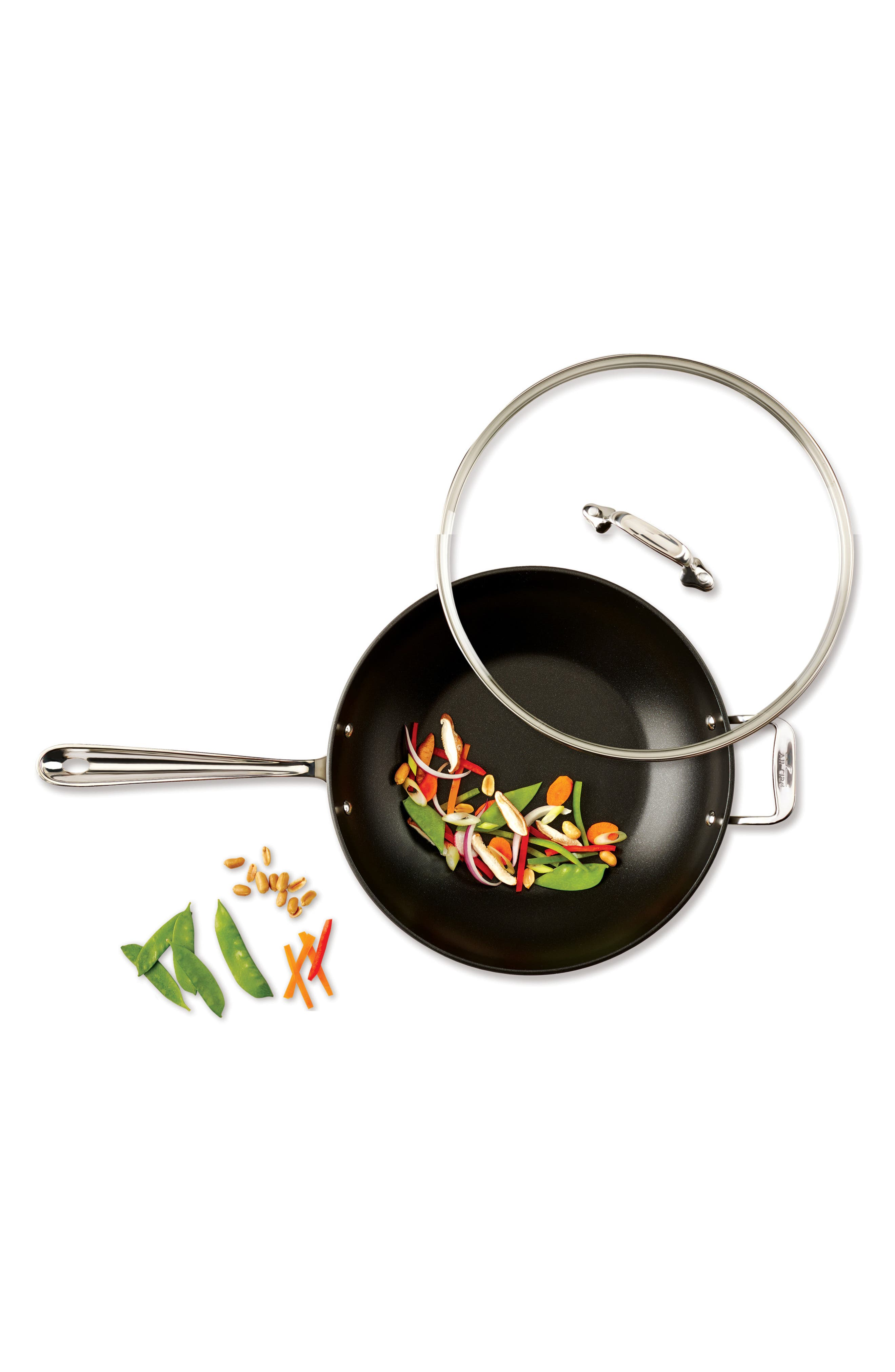 ALL-CLAD,                             12-Inch Hard Anodized Aluminum Nonstick Chef's Pan,                             Alternate thumbnail 3, color,                             BLACK
