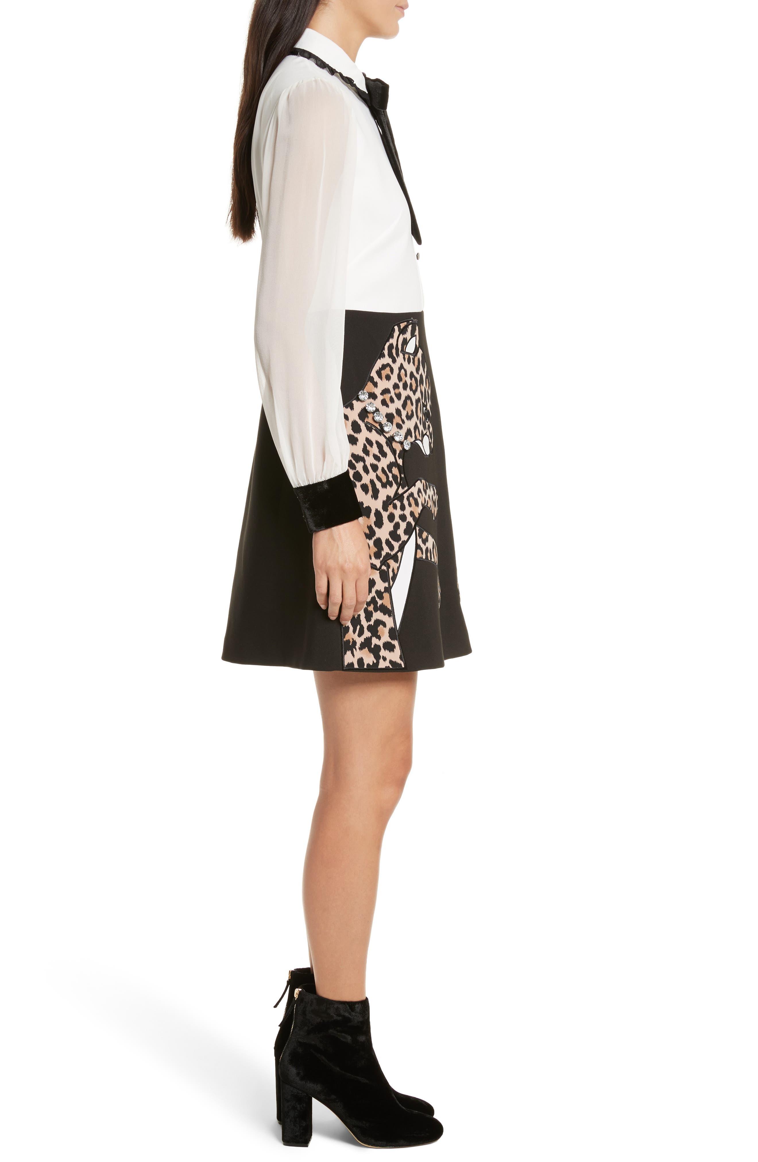 leopard appliqué shirtdress,                             Alternate thumbnail 3, color,                             001
