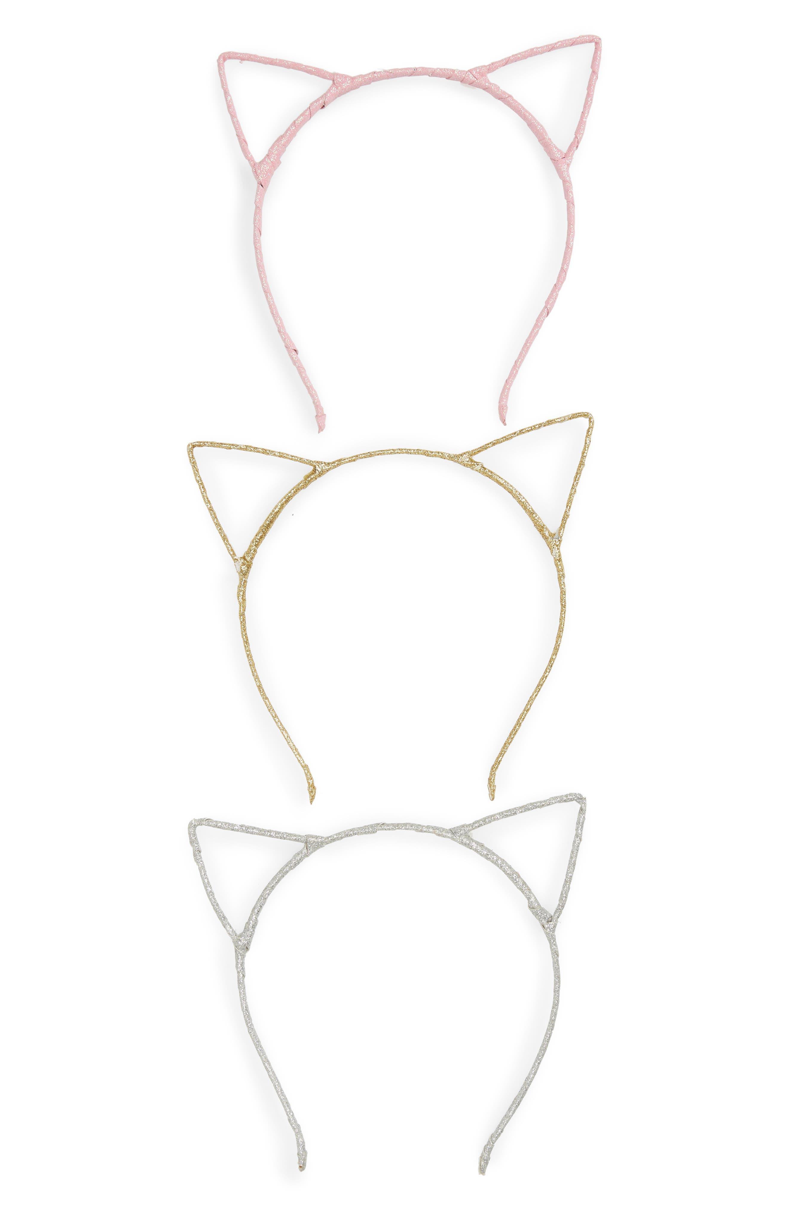 Glitter Cat 3-Pack Headband Set,                             Main thumbnail 1, color,                             GOLD COMBO