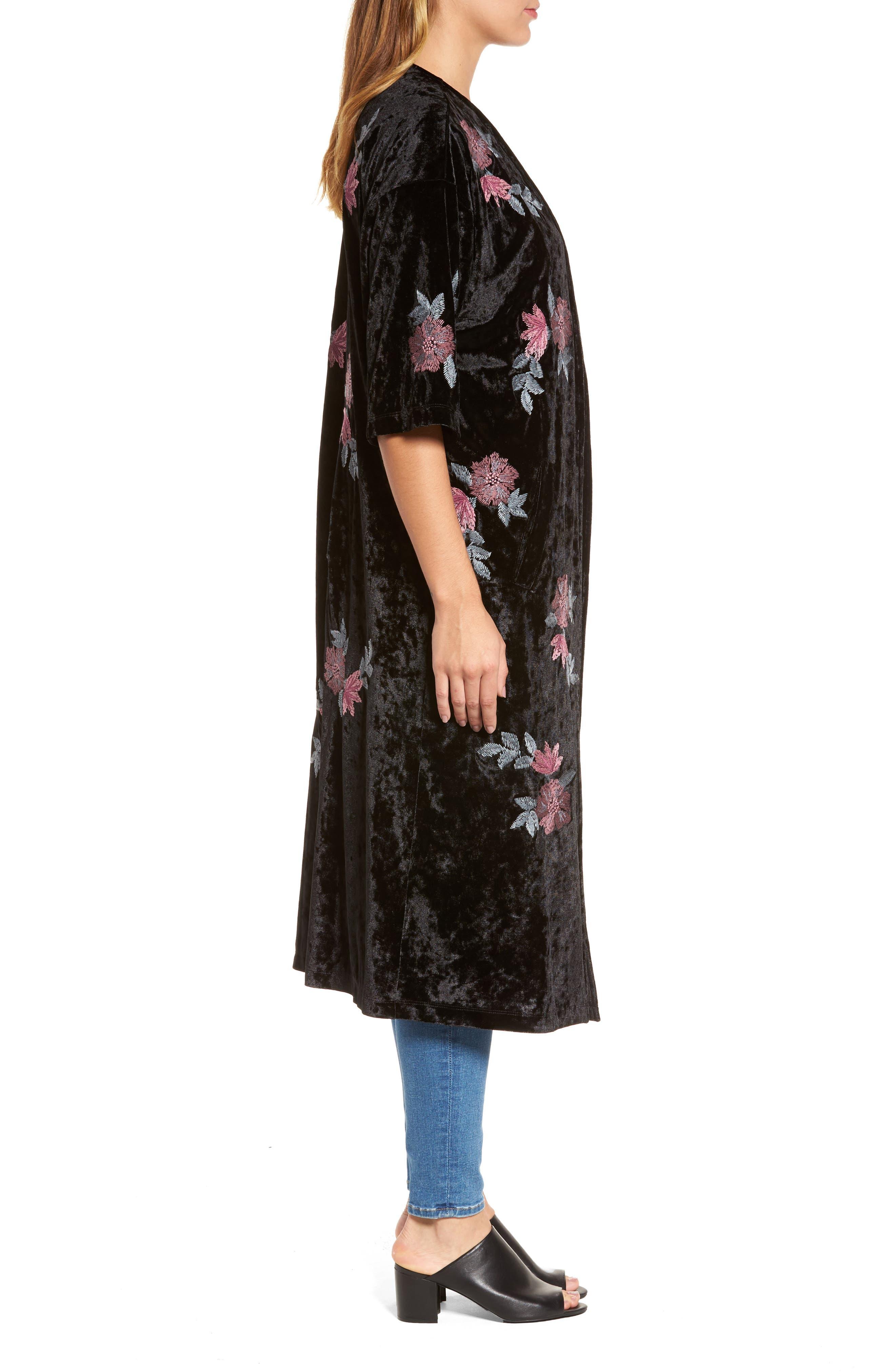 Floral Velvet Long Jacket,                             Alternate thumbnail 3, color,                             001