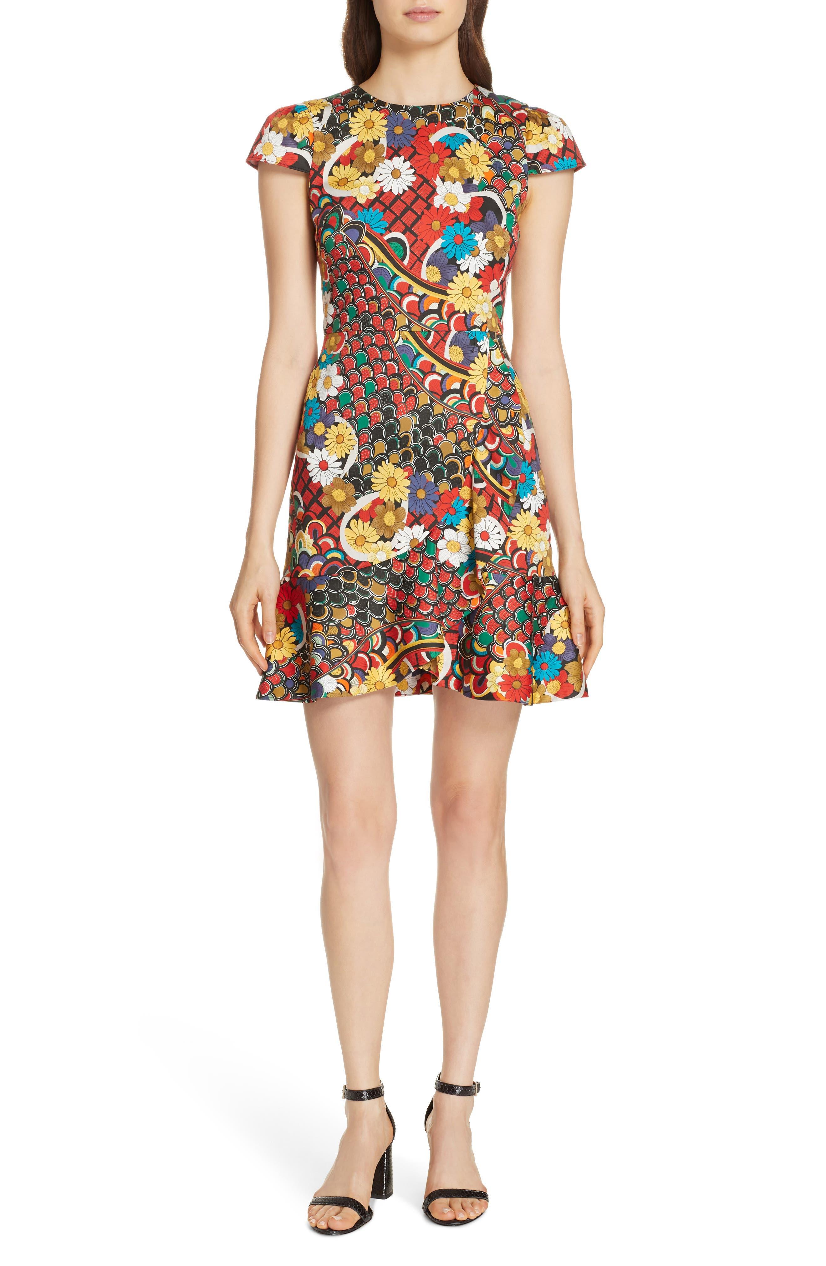Alice + Olivia Kirby Ruffle Hem Dress, Yellow