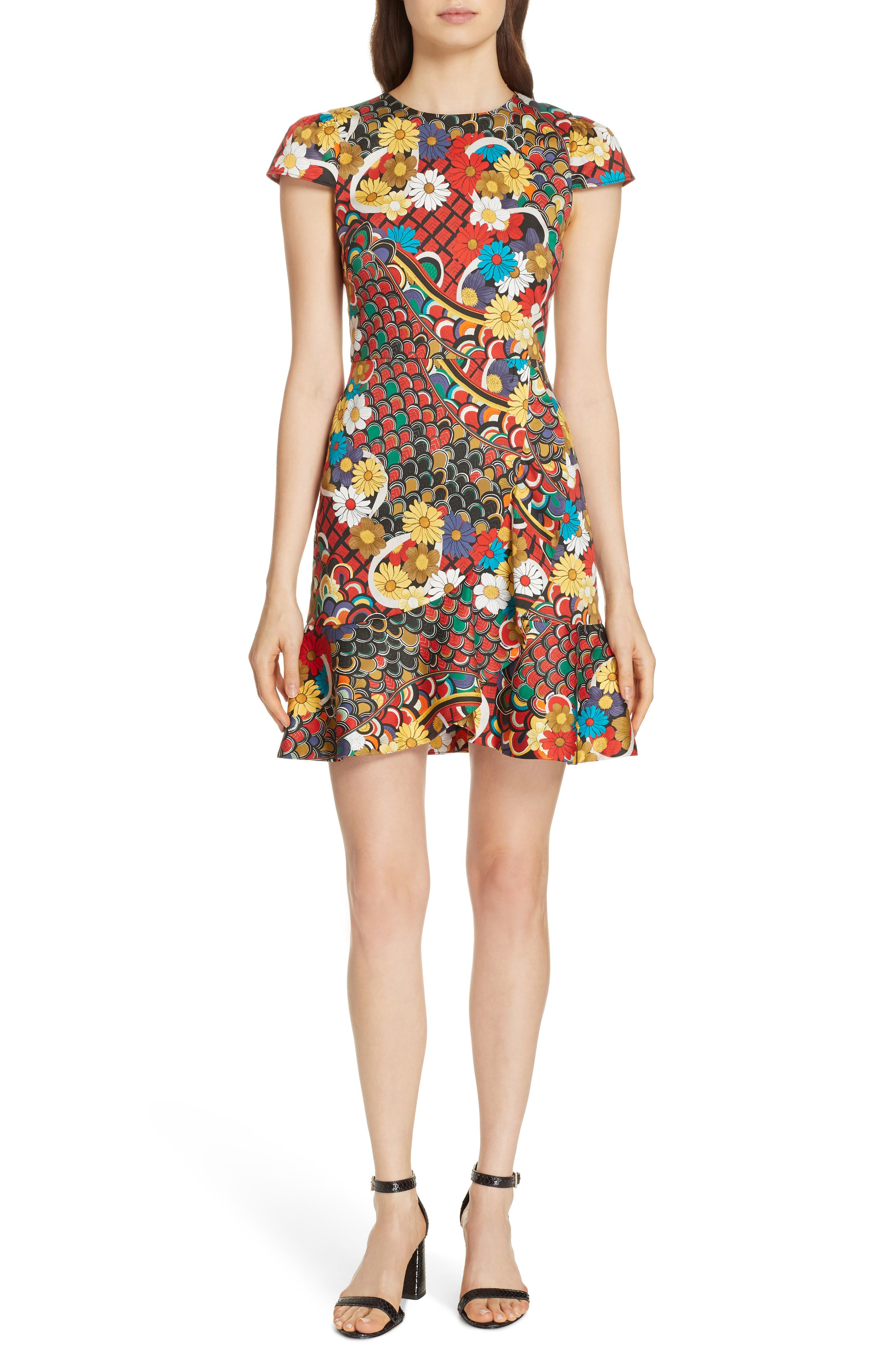 Kirby Ruffled Stretch Cotton Dress in Floral Melody Multi