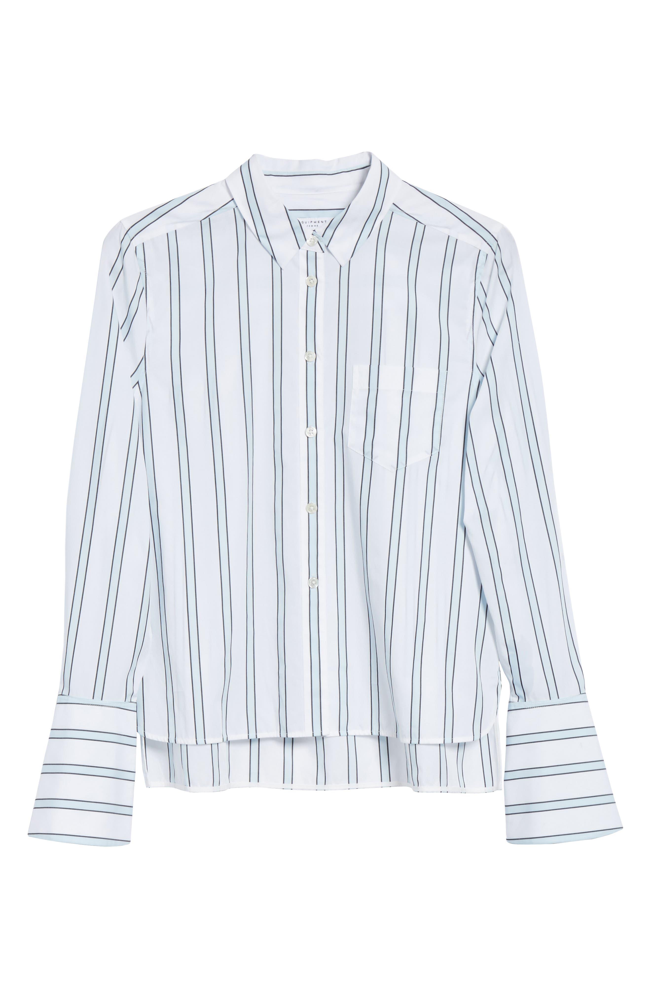 Huntley Stripe Cotton Shirt,                             Alternate thumbnail 6, color,                             157