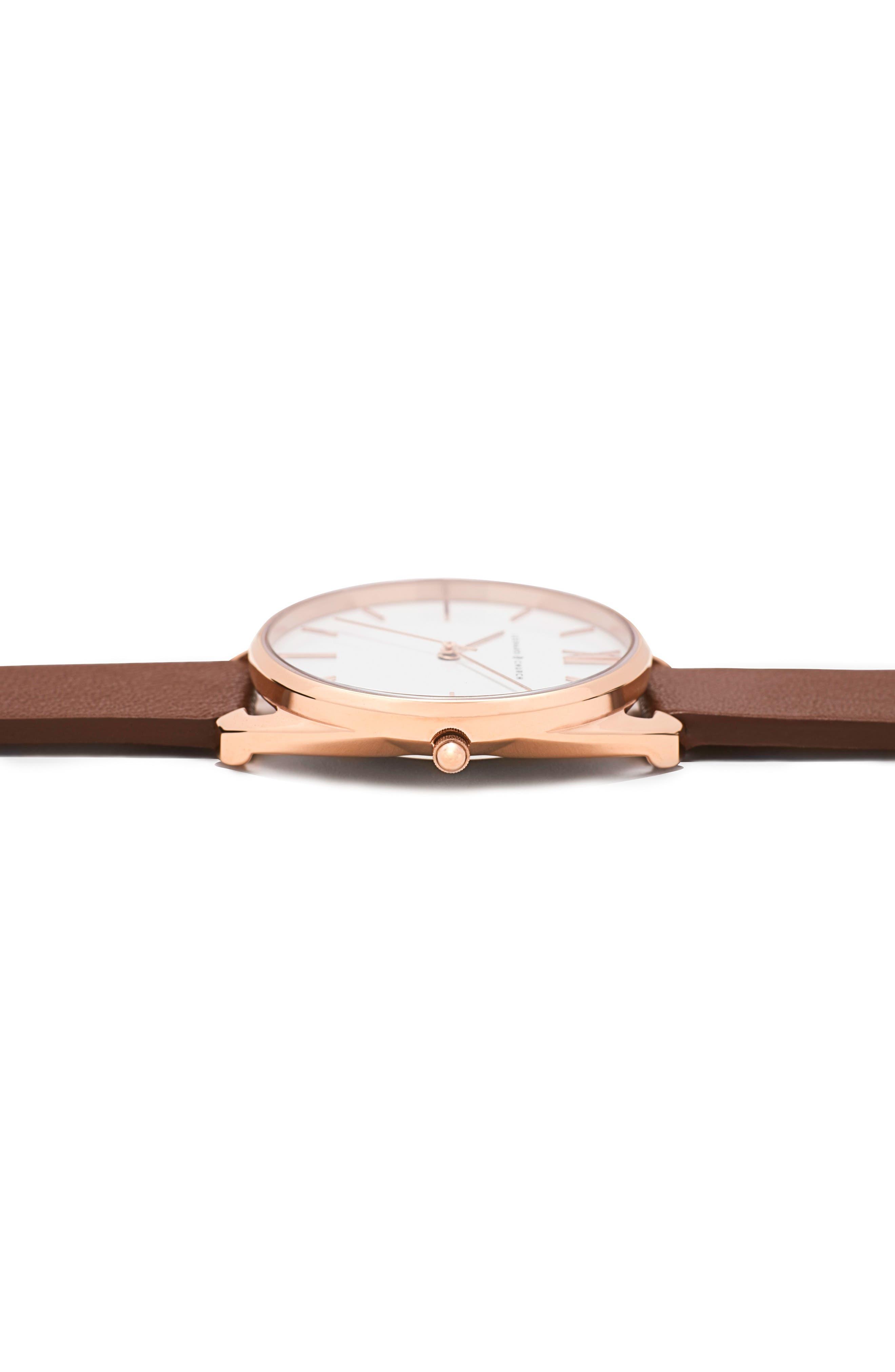 Leonard & Church Chelsea Leather Strap Watch, 34mm,                             Alternate thumbnail 12, color,