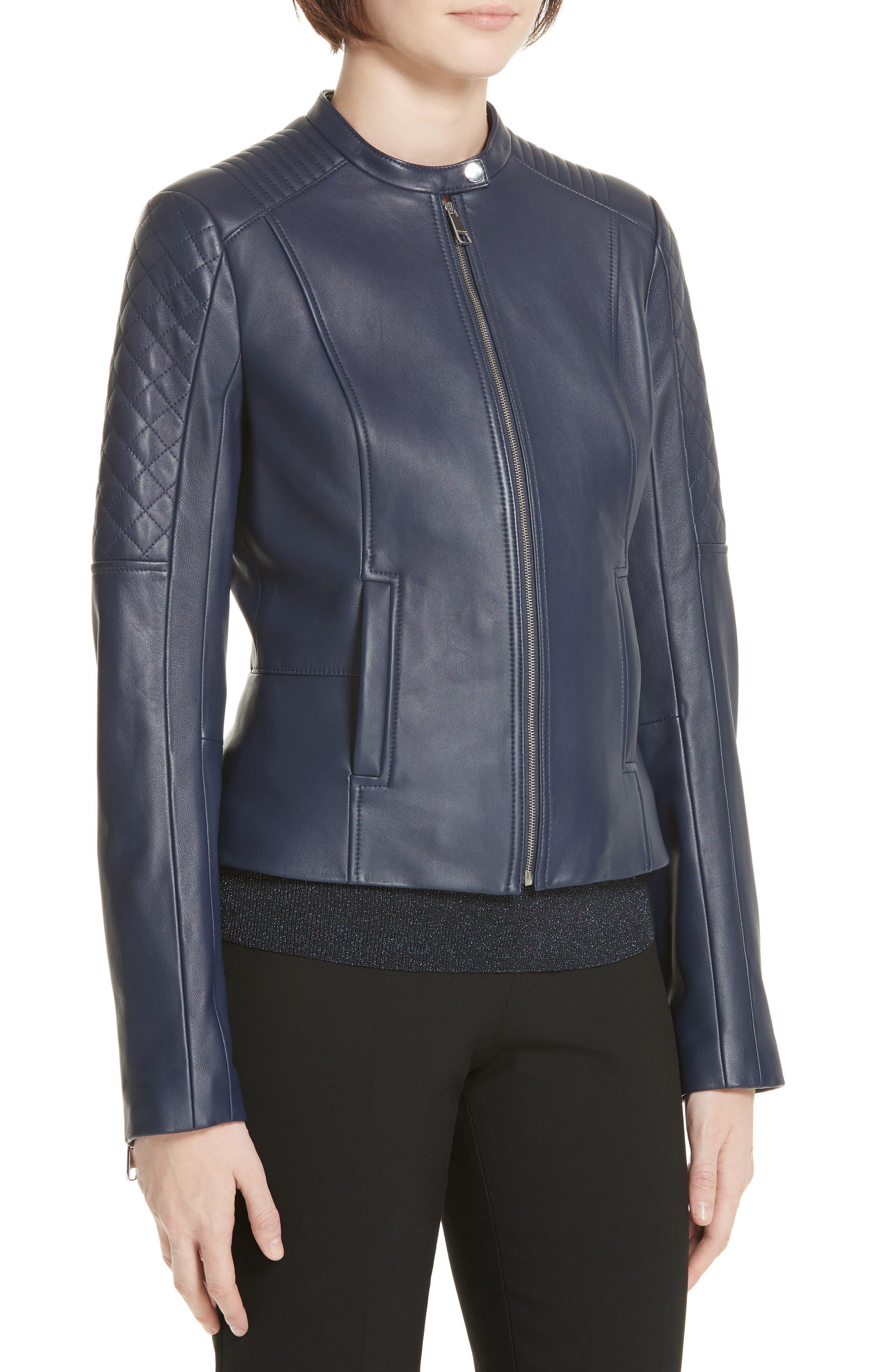 Sadeno Leather Moto Jacket,                             Alternate thumbnail 4, color,                             INK BLUE